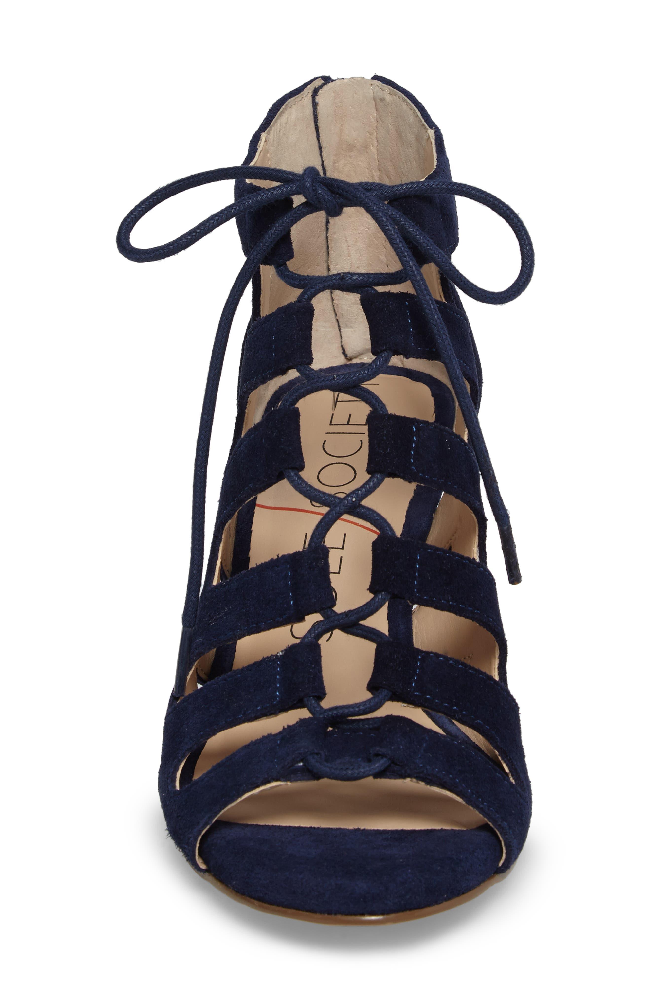 'Freyaa' Wedge Sandal,                             Alternate thumbnail 4, color,                             Navy Suede