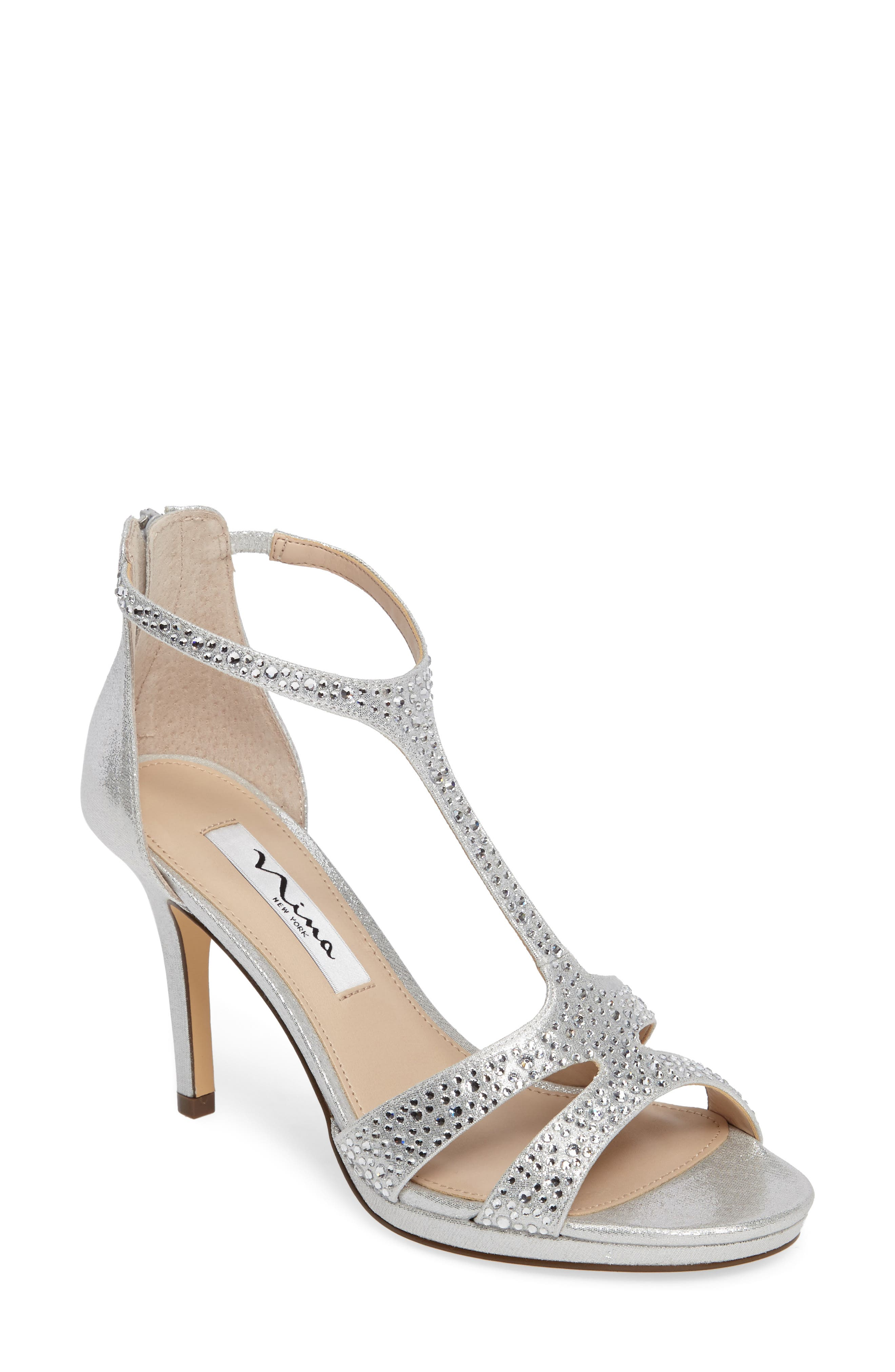 Nina Brietta Embellished T-Strap Sandal (Women)