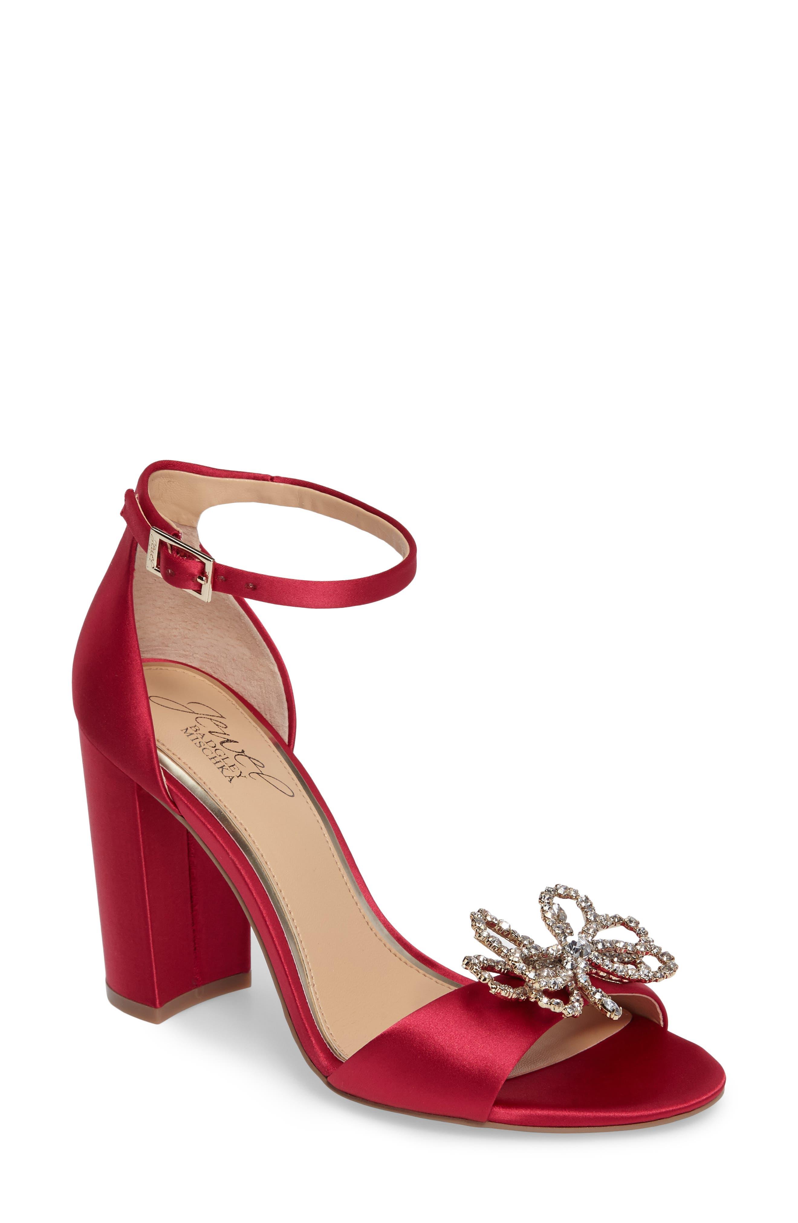 Jewel Badgley Mischka Lex Embellished Block Heel Sandal (Women)