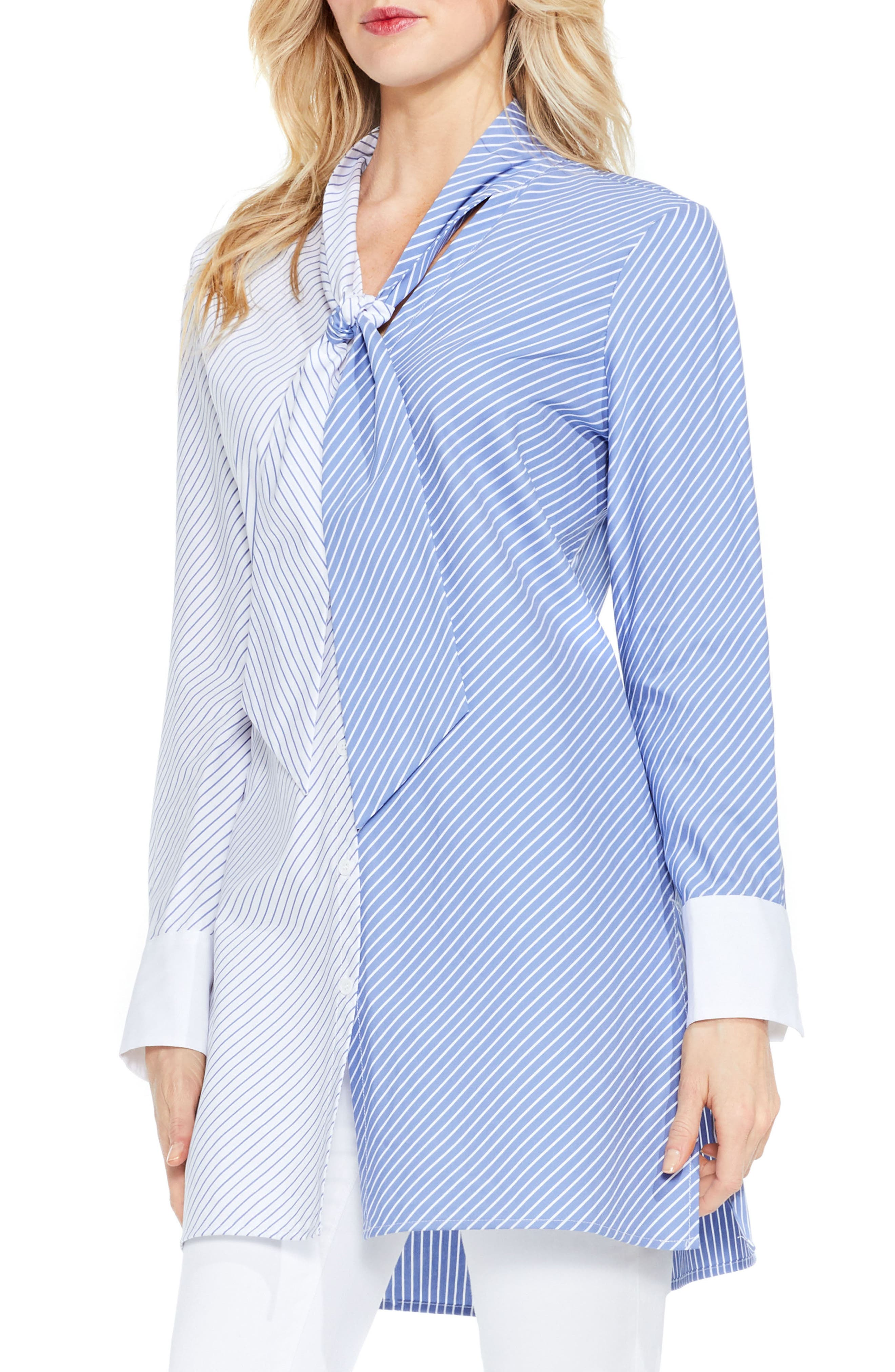 Vince Camuto Mixed Stripe Tunic