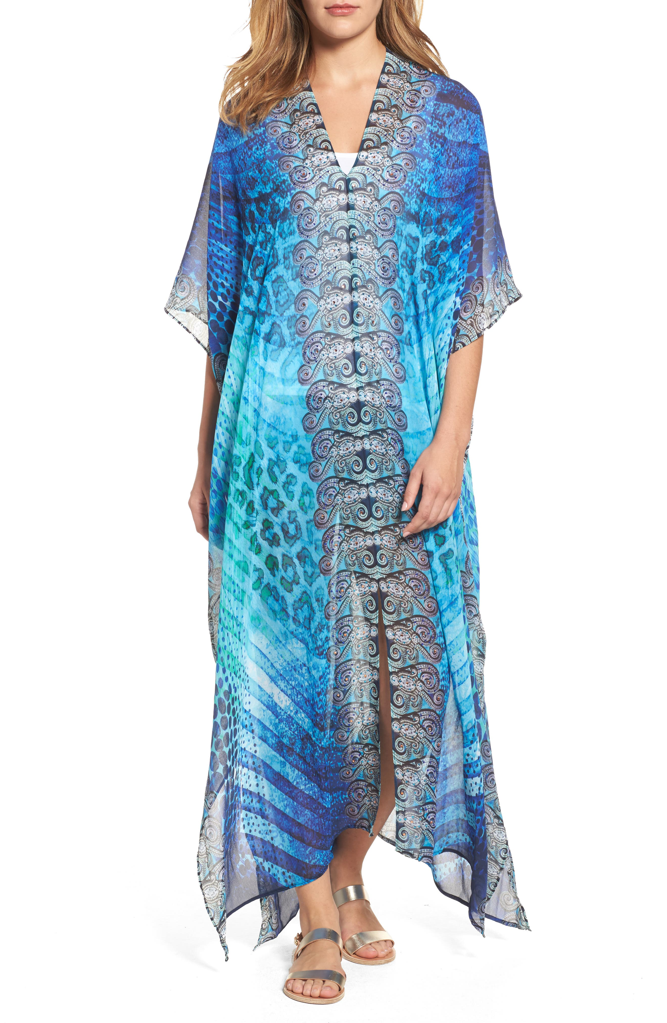 Santorini Desert Long Kaftan,                         Main,                         color, Blue