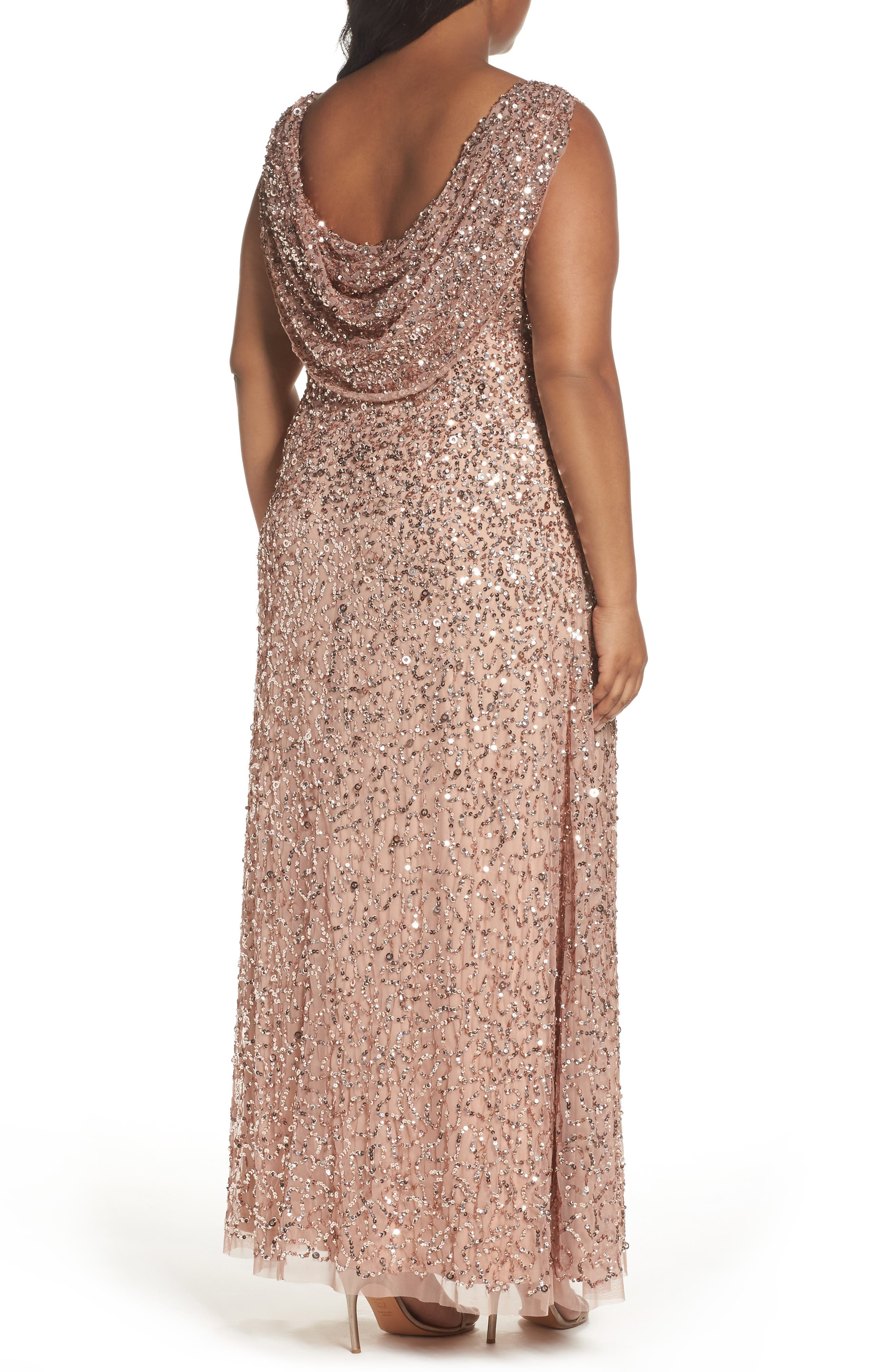 Sequin Cowl Back Gown,                             Alternate thumbnail 2, color,                             Rose Gold
