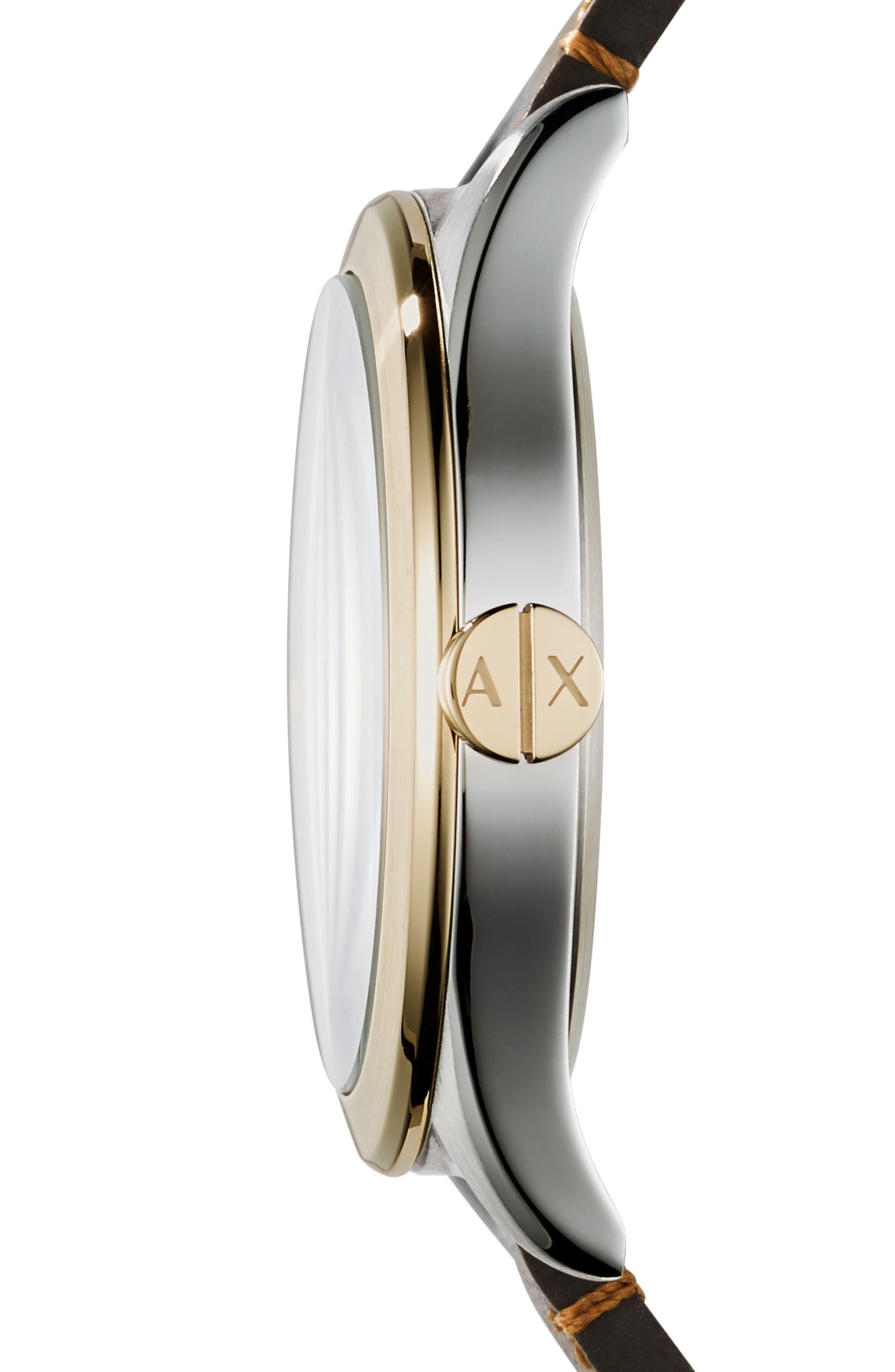 Alternate Image 2  - AX Armani Exchange Nico Two-Tone Leather Strap Watch, 44mm