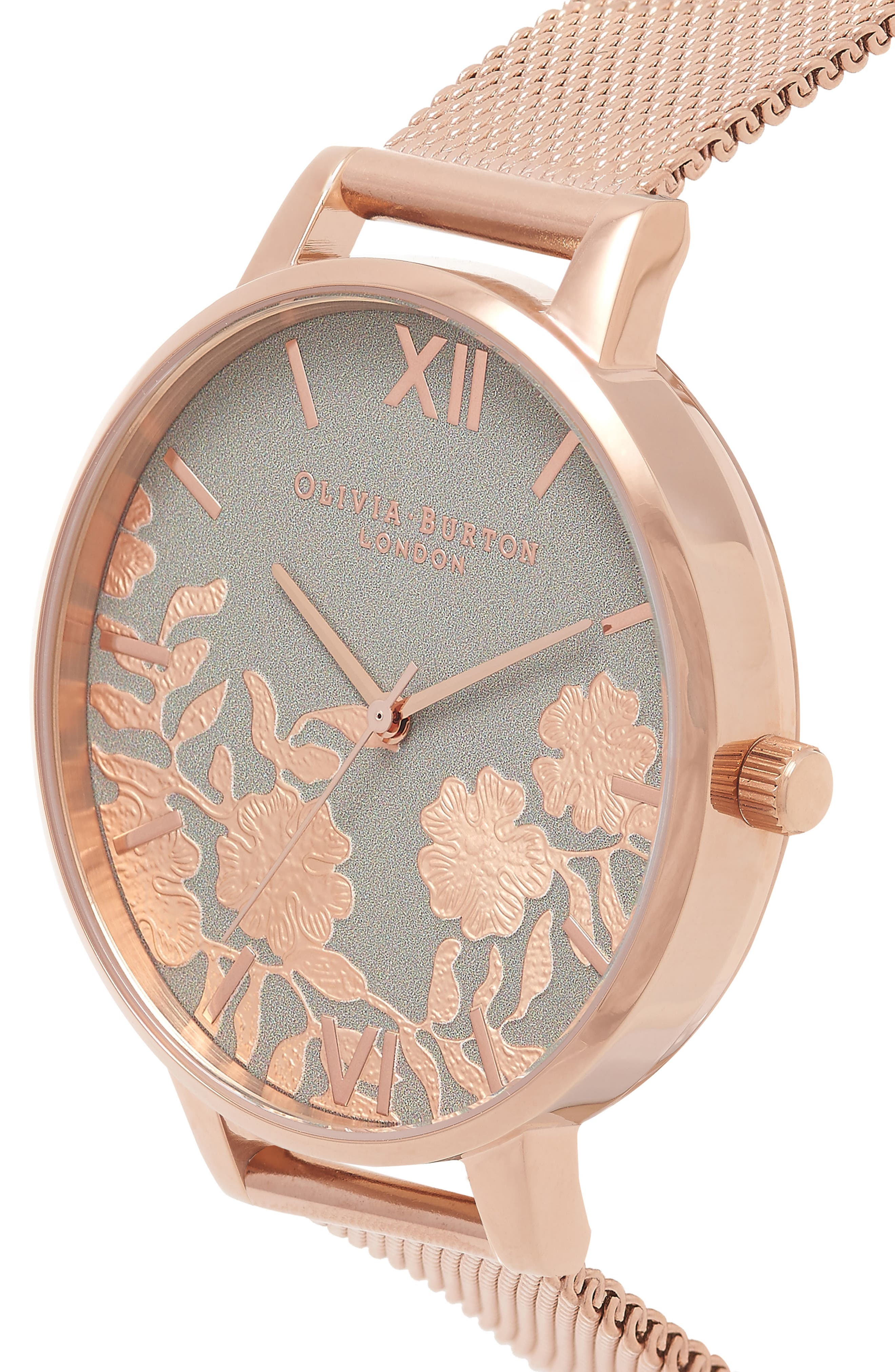 Lace Detail Mesh Strap Watch, 38mm,                             Alternate thumbnail 3, color,                             Rose Gold/ Grey/ Rose Gold