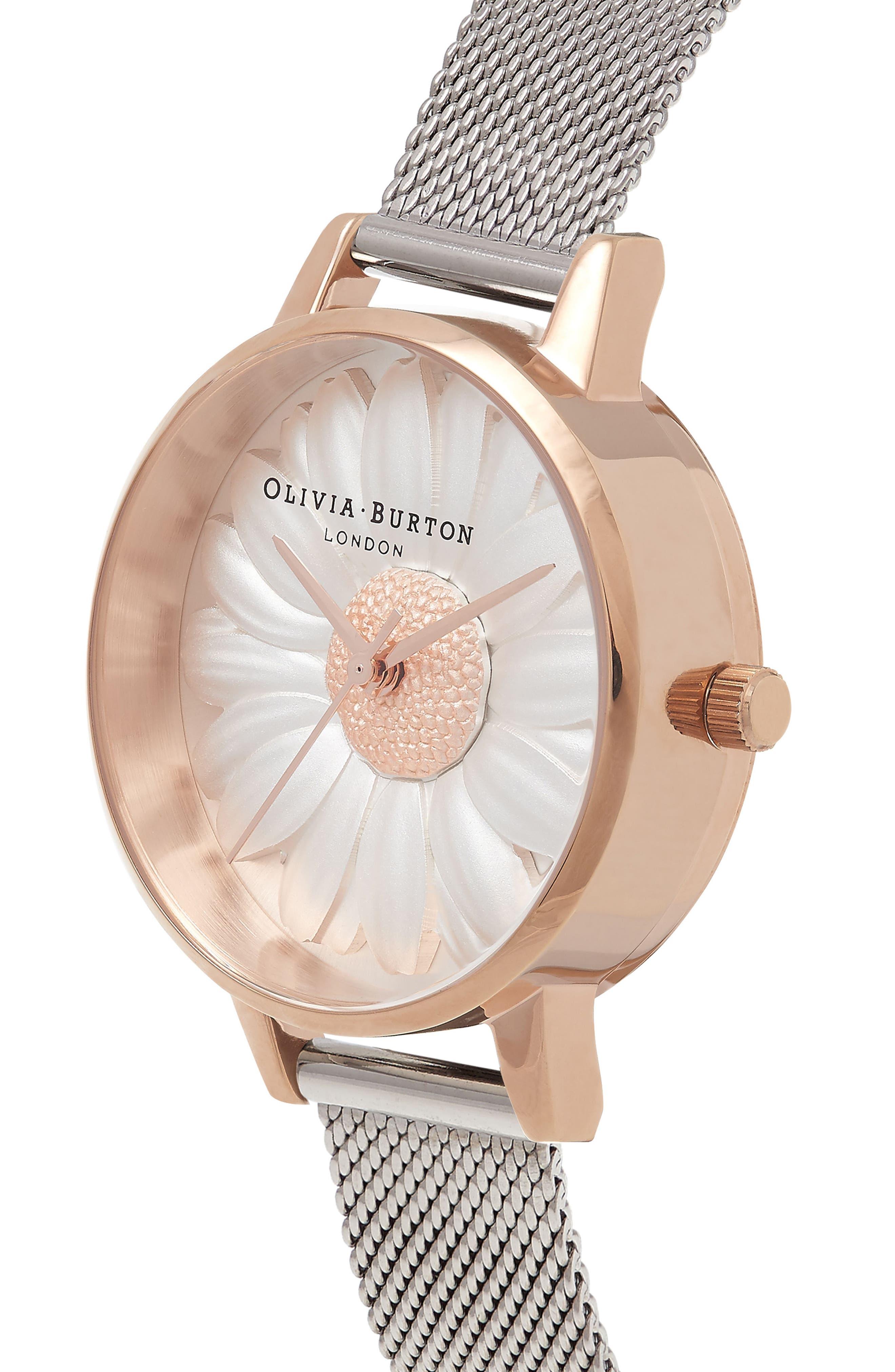 Alternate Image 3  - Olivia Burton Flower Show Mesh Strap Watch, 30mm