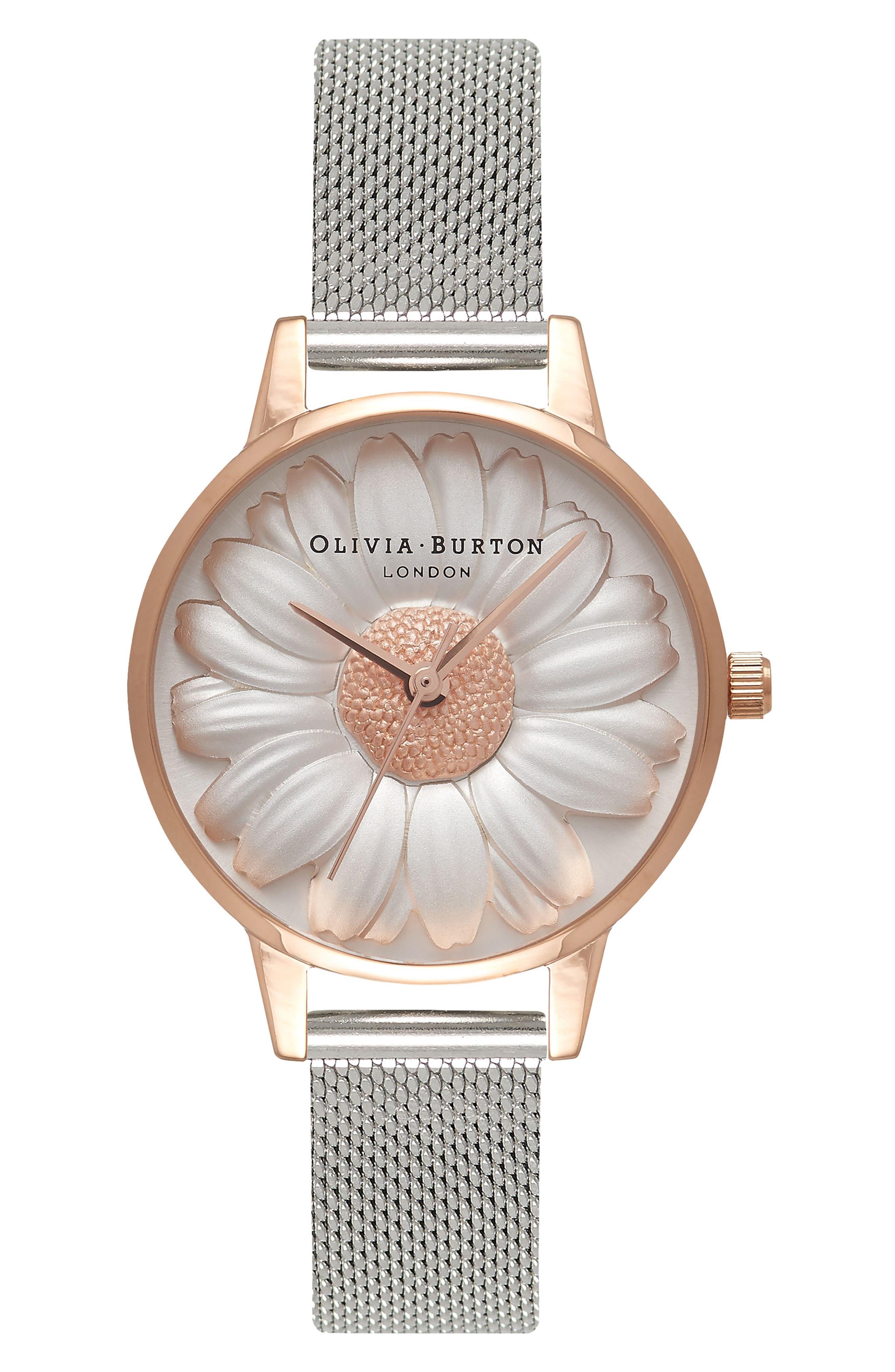 Olivia Burton Flower Show Mesh Strap Watch, 30mm