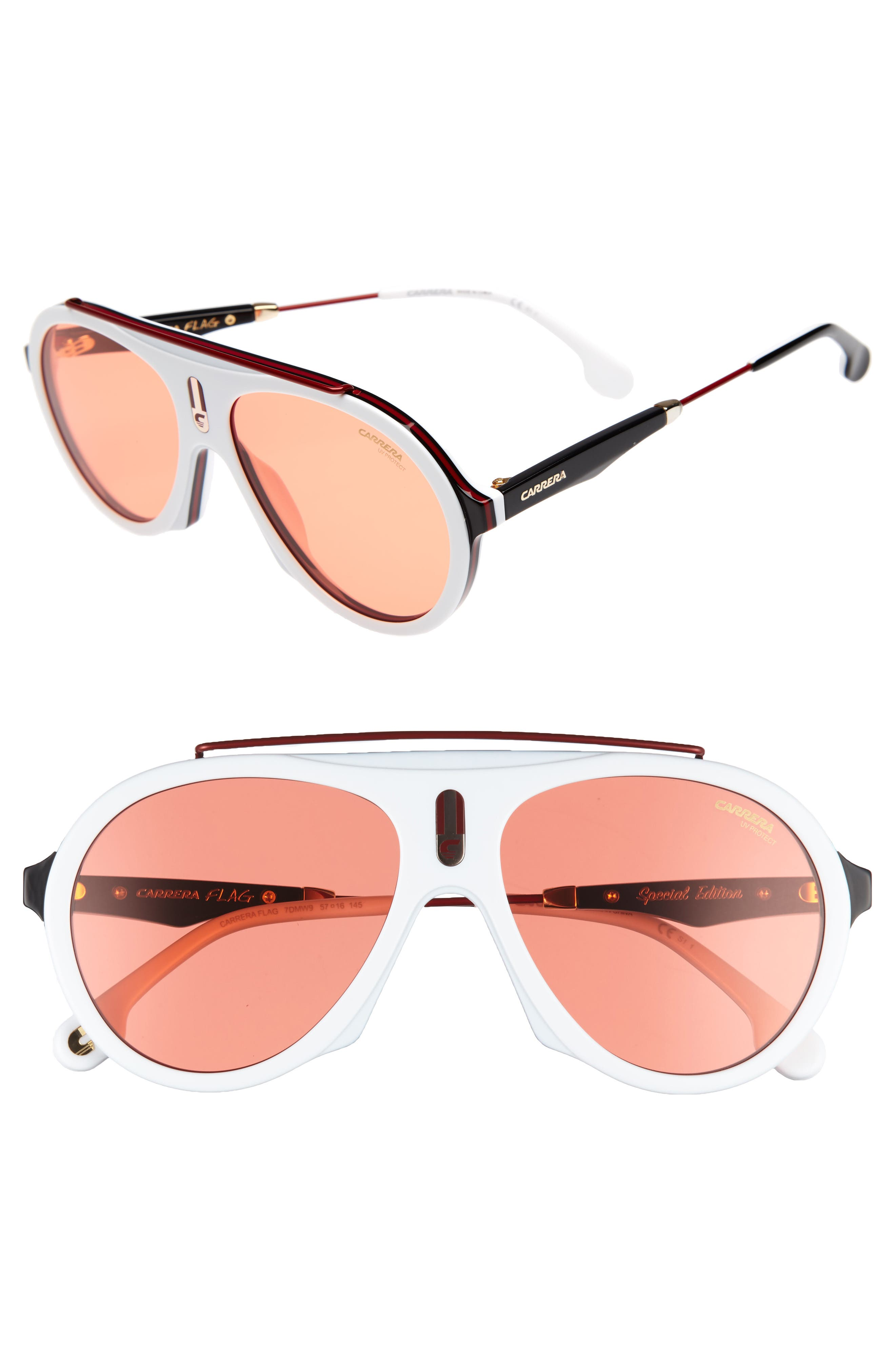 Carrera Flag 57mm Mirrored Pilot Sunglasses,                             Main thumbnail 1, color,                             White/ Red
