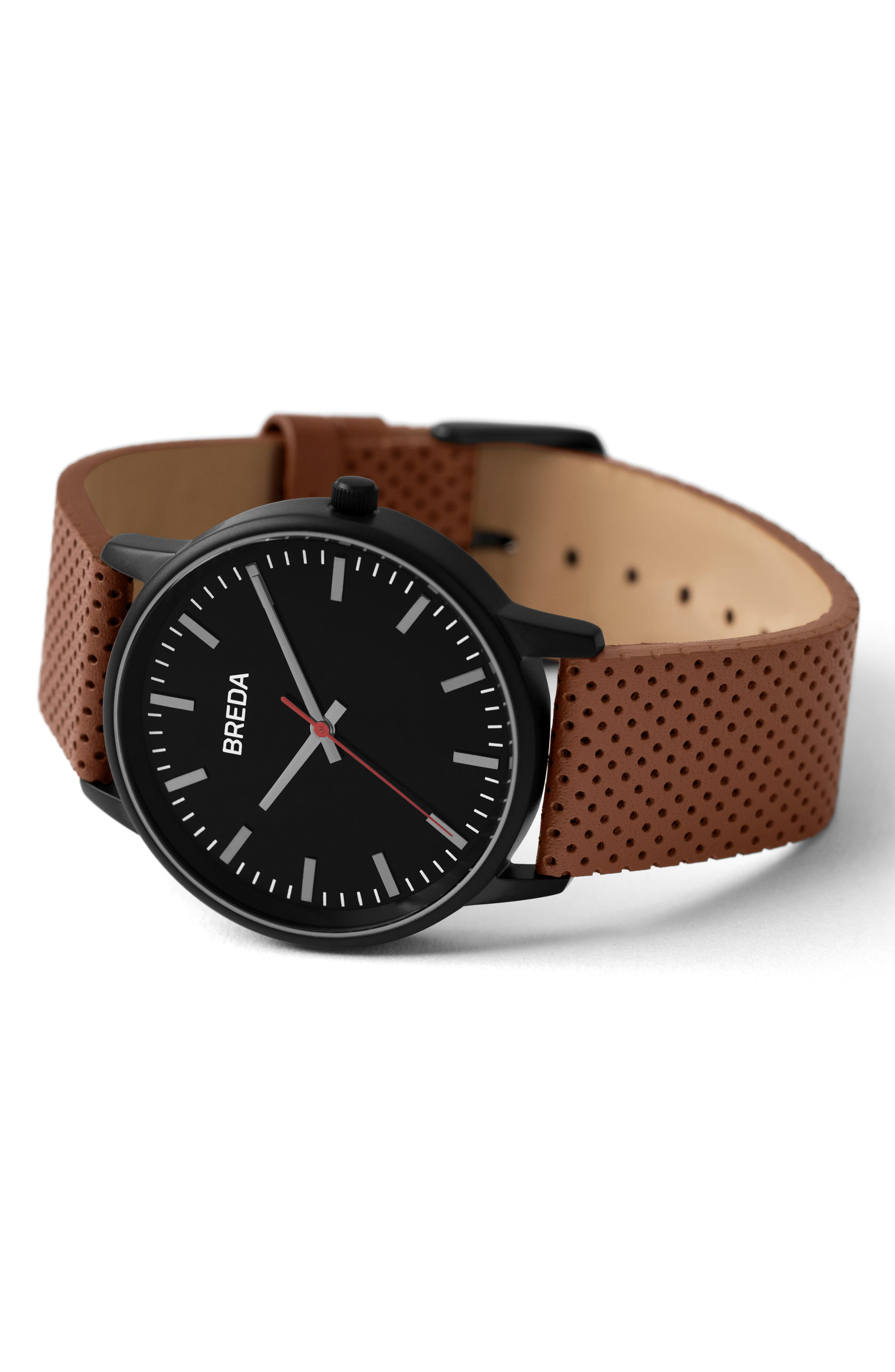 Zapf Round Perforated Leather Strap Watch, 39mm,                             Alternate thumbnail 3, color,                             Black/ Brown