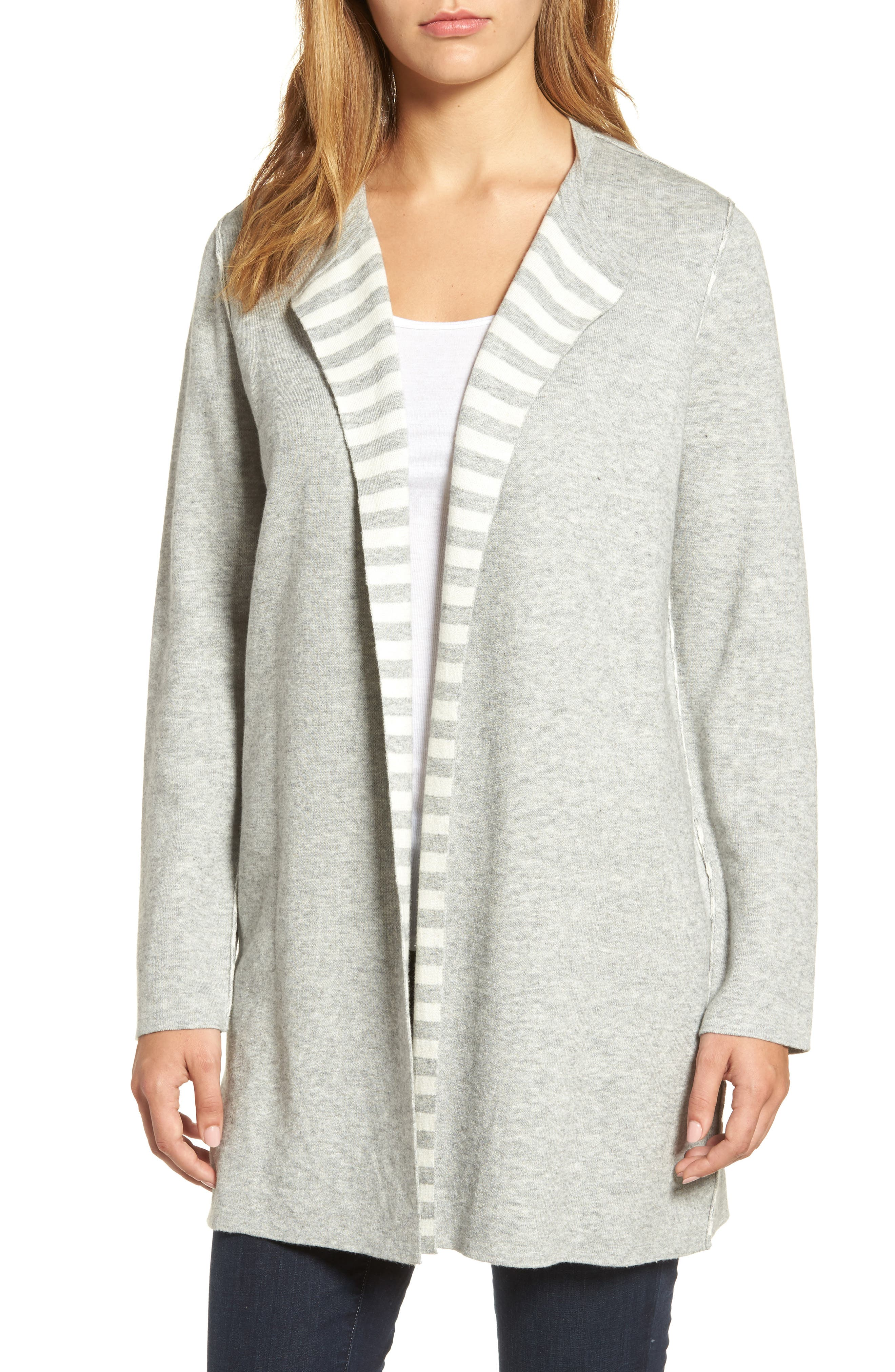 Reversible Organic Cotton Blend Cardigan,                         Main,                         color, Dark Pearl