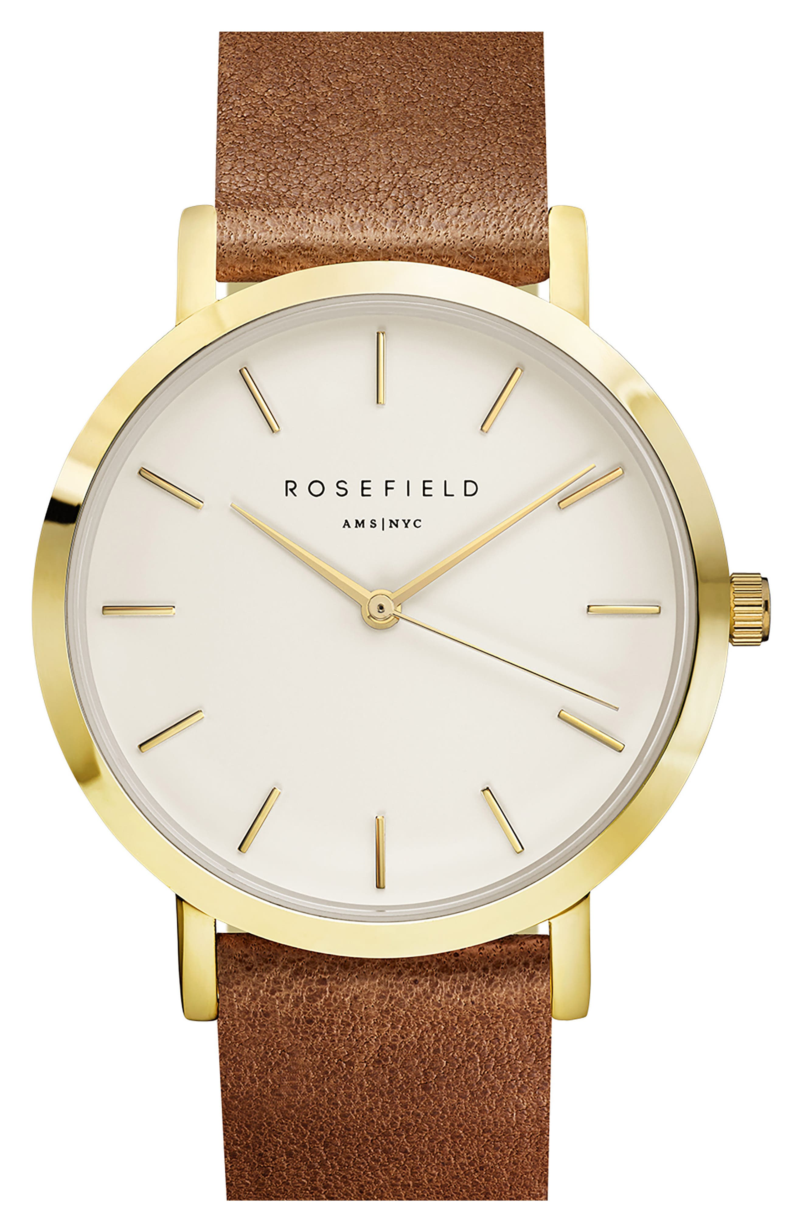 Alternate Image 1 Selected - Rosefield Gramercy Leather Strap Watch, 38mm