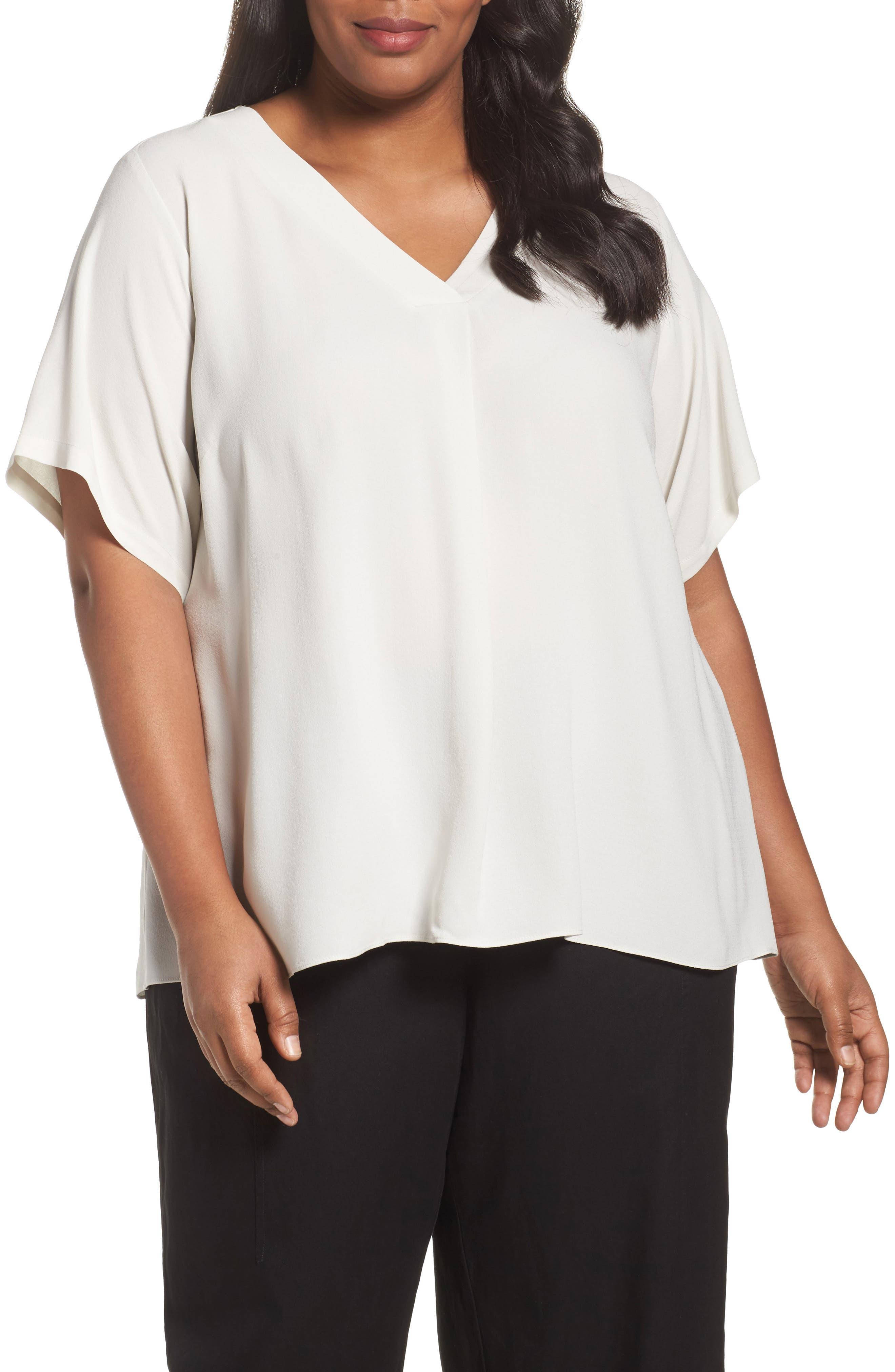 Eileen Fisher Silk V-Neck Top (Plus Size)