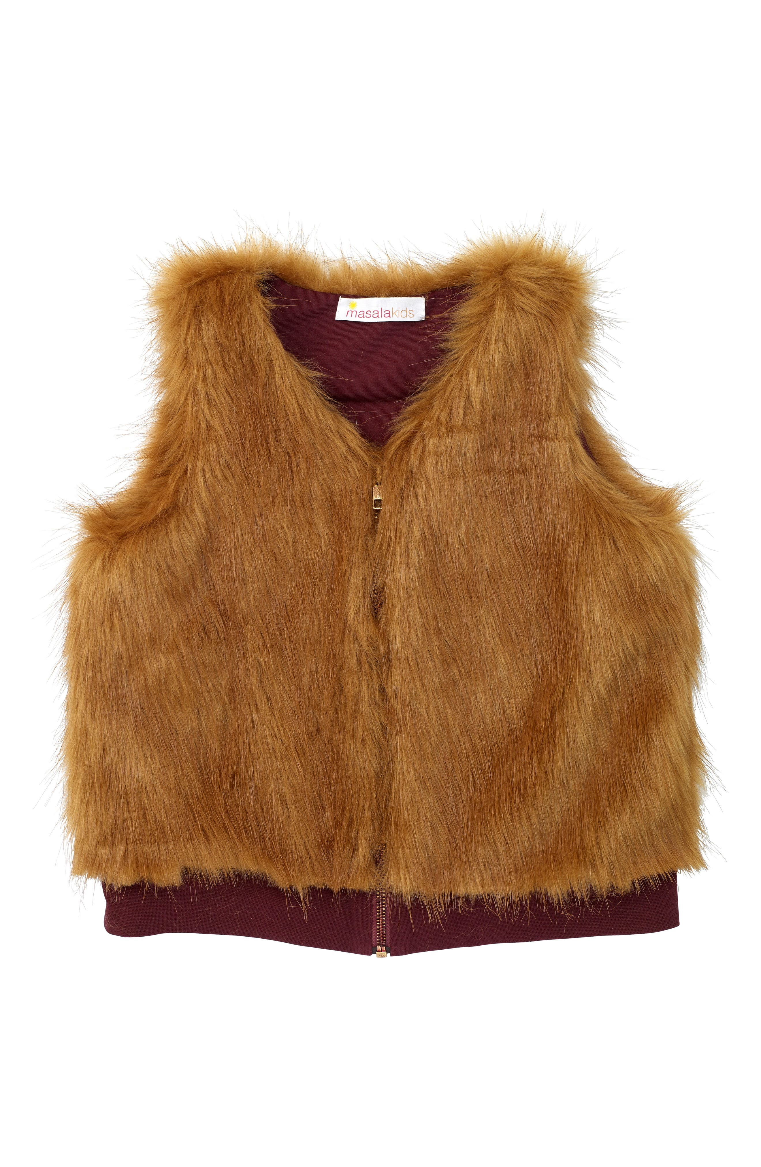 Alternate Image 1 Selected - Masala Baby Faux Fur Vest (Baby Girls, Toddler Girls, Little Girls & Big Girls)