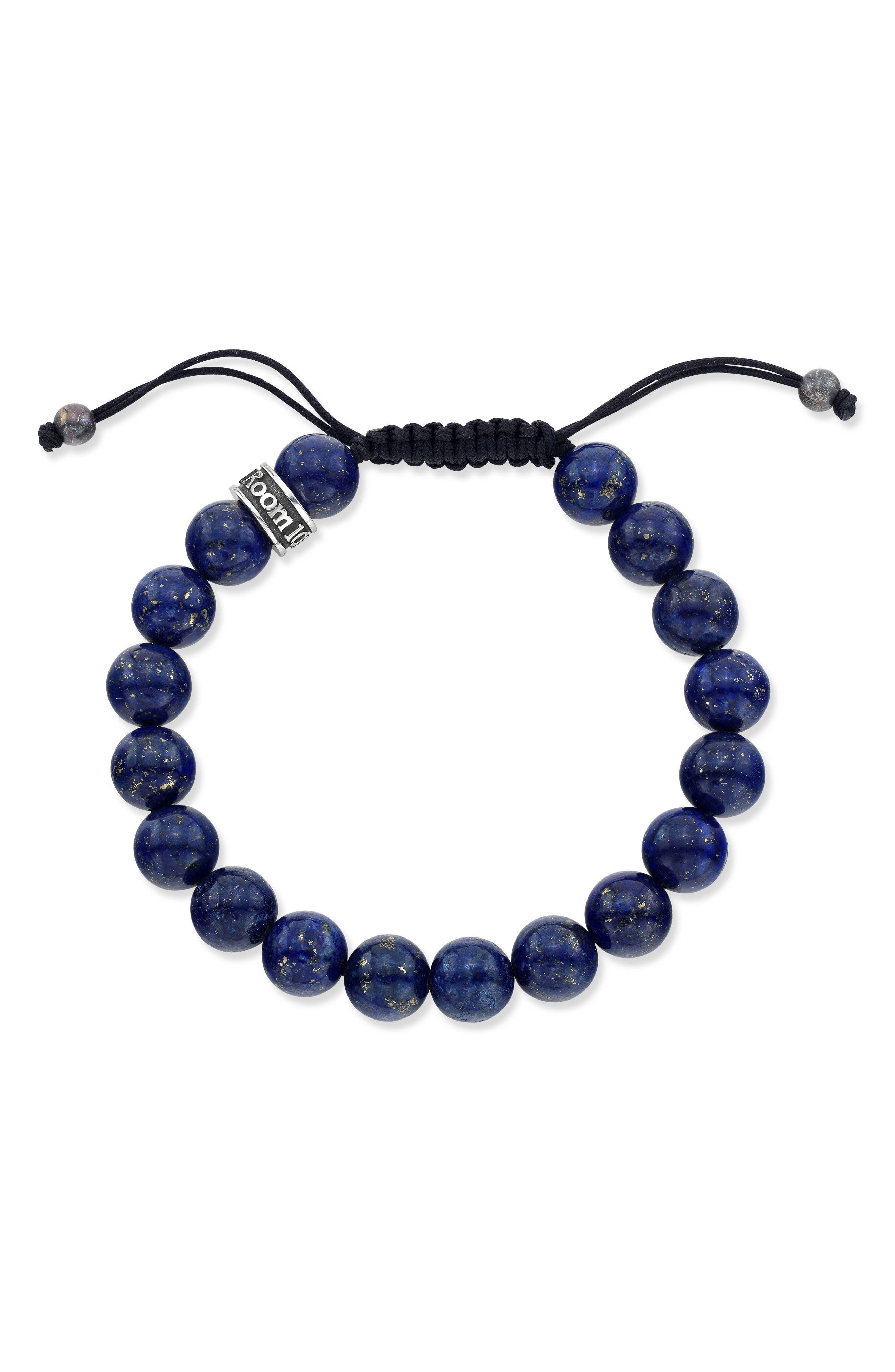 Lapis Lazuli Bead Shamballa Bracelet,                         Main,                         color, Blue