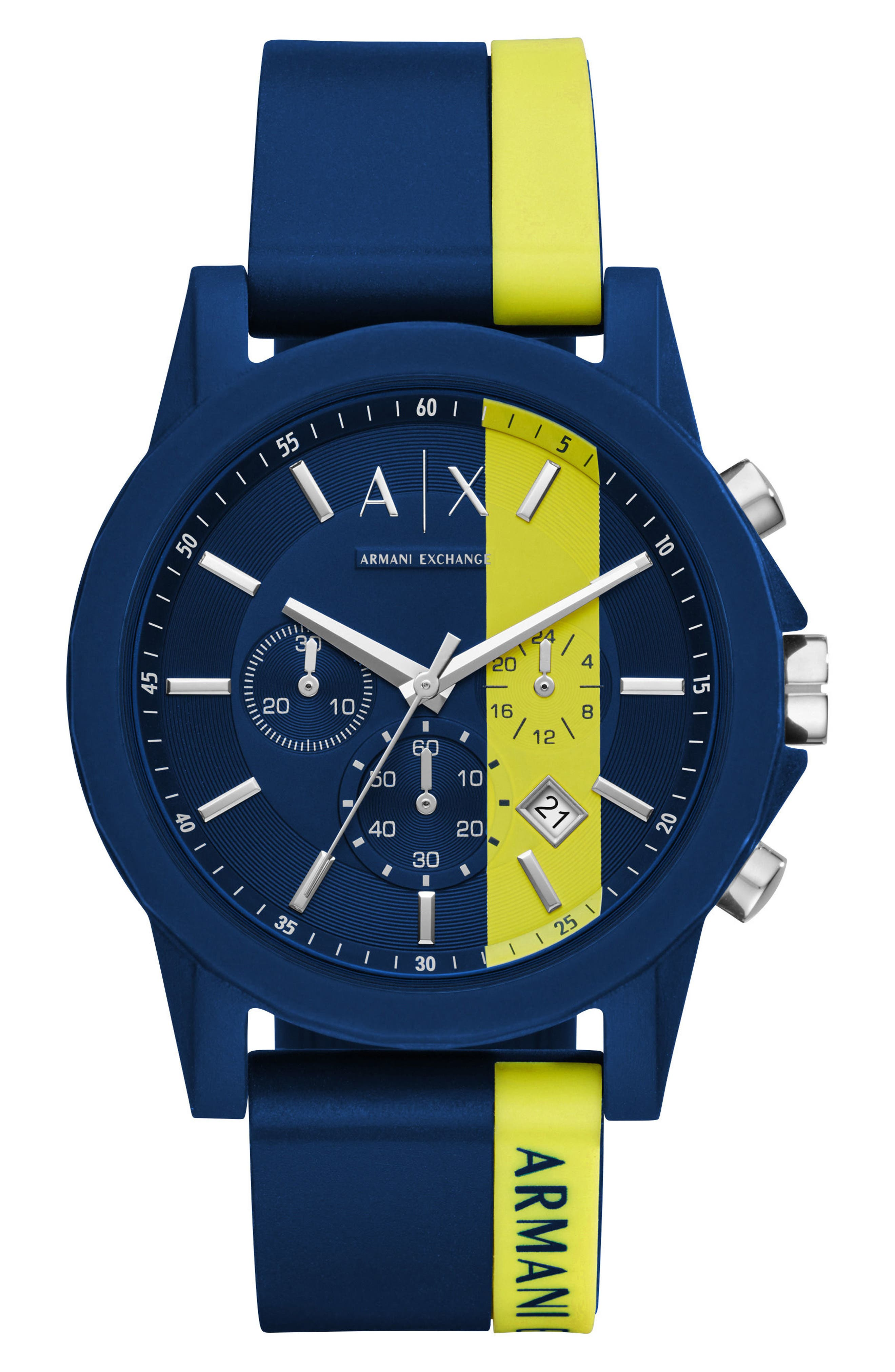 Chronograph Stripe Silicone Strap Watch, 45mm,                         Main,                         color, Yellow/ Blue