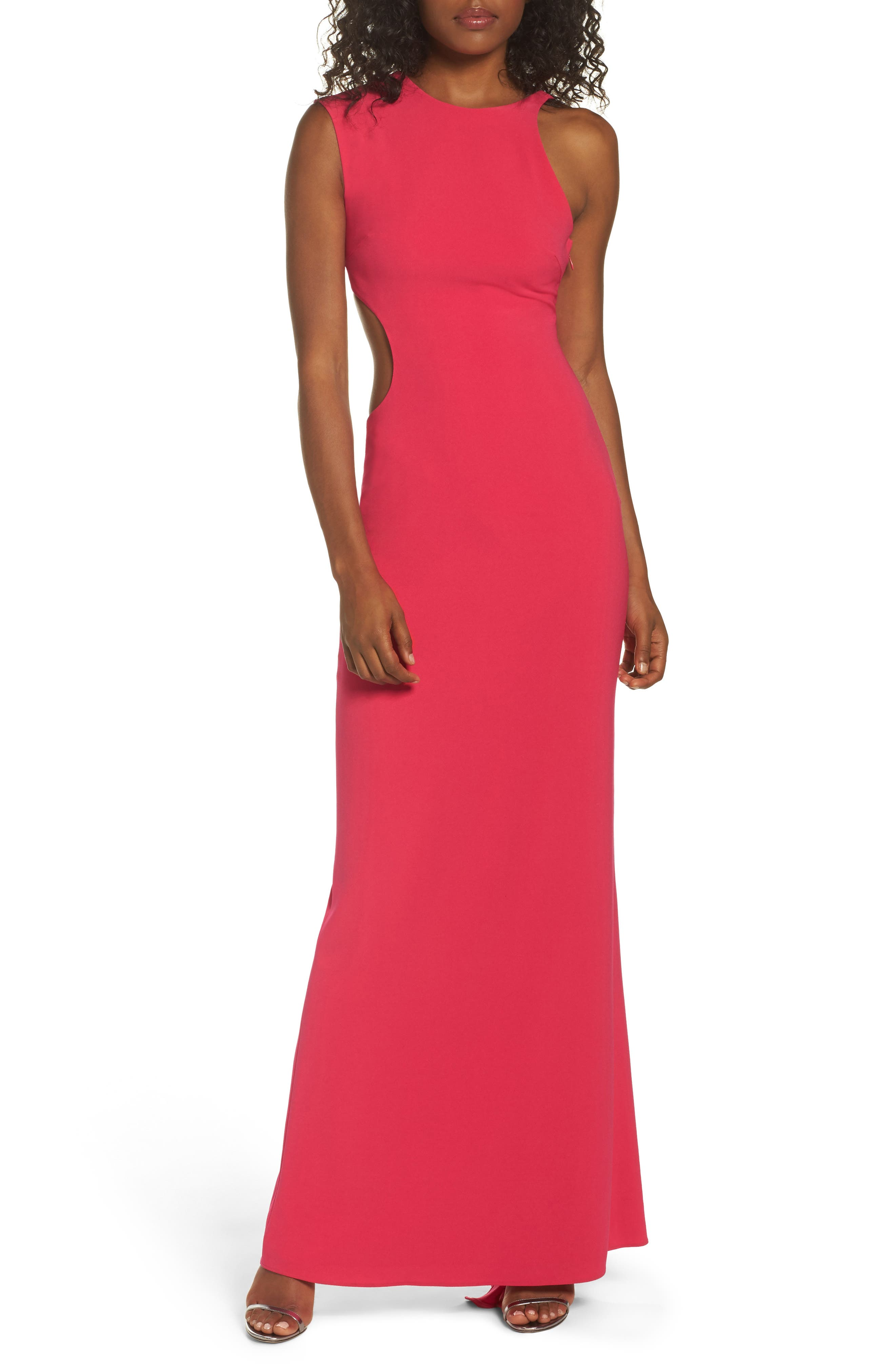 Asymmetrical Cutout Crepe Gown,                             Main thumbnail 1, color,                             Fuchsia Rose