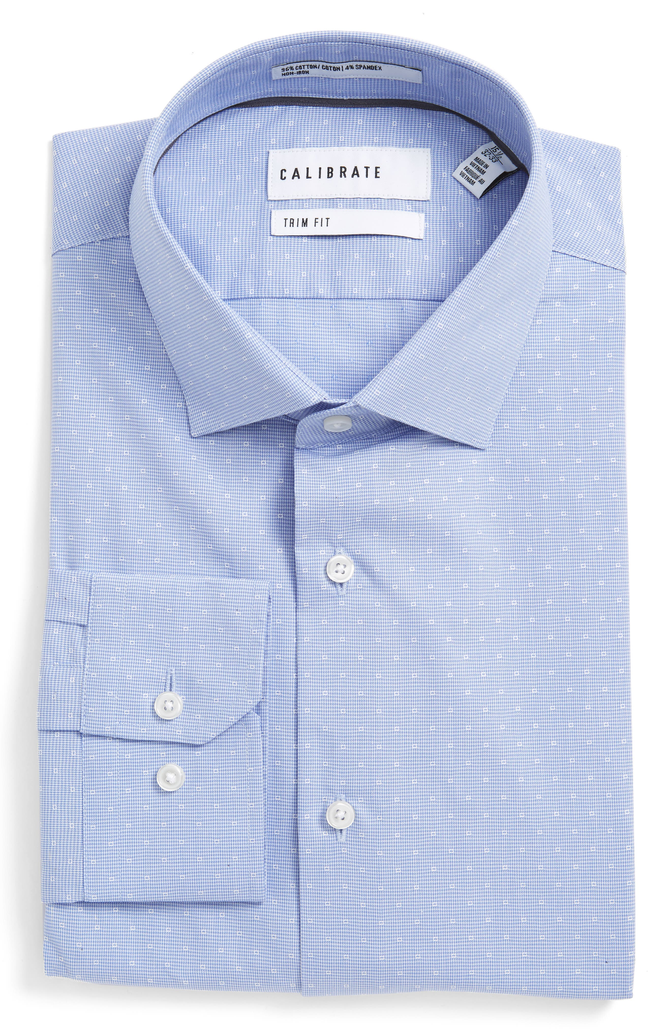 Trim Fit Non-Iron Stretch Houndstooth Dress Shirt,                         Main,                         color, Blue Wedgewood