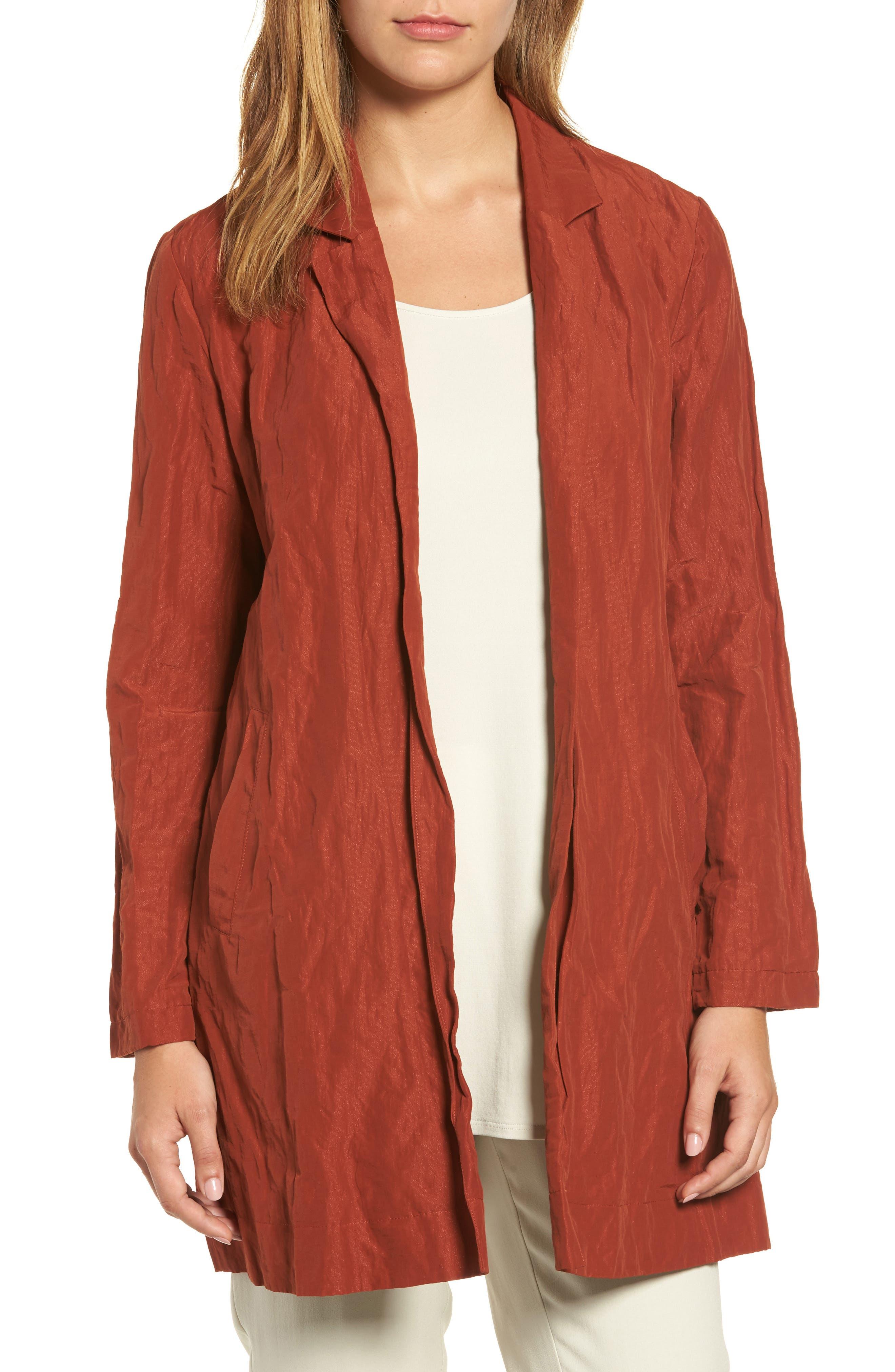 Notch Collar Long Jacket,                         Main,                         color, Paprika