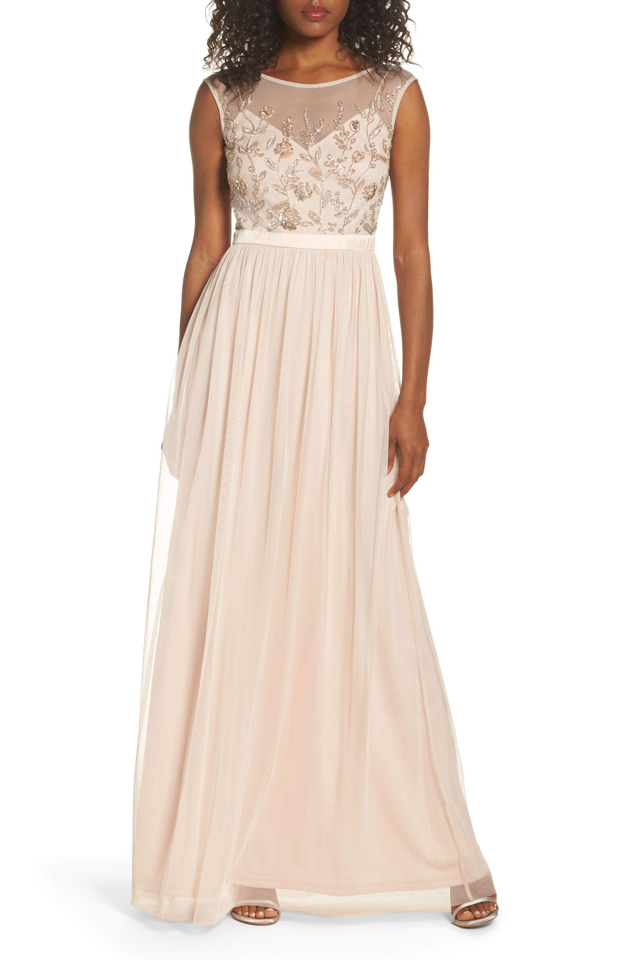 Beaded Mesh Gown,                         Main,                         color, Shell