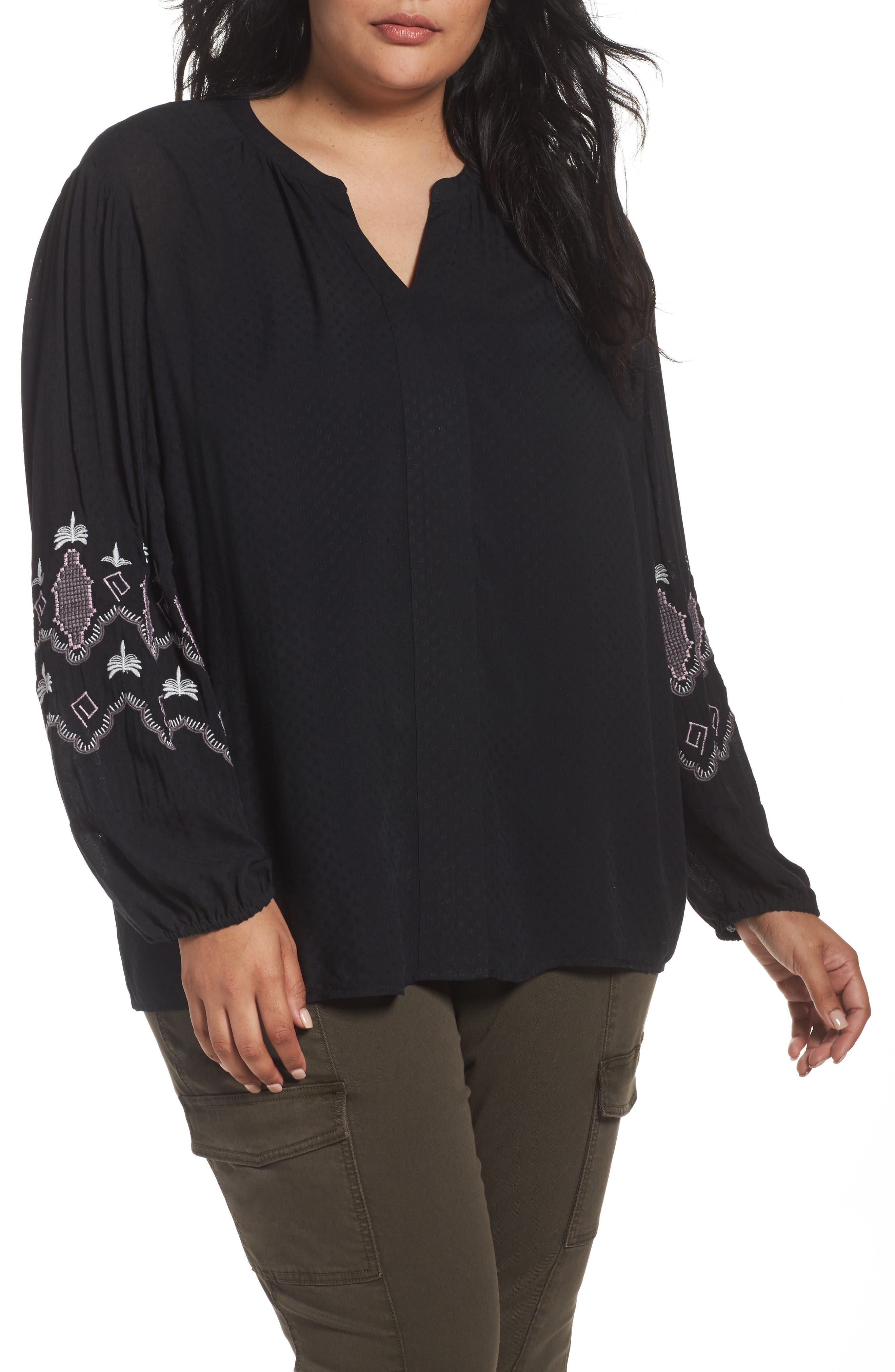 Embroidered Blouse,                         Main,                         color, Black- Purple Embroidery