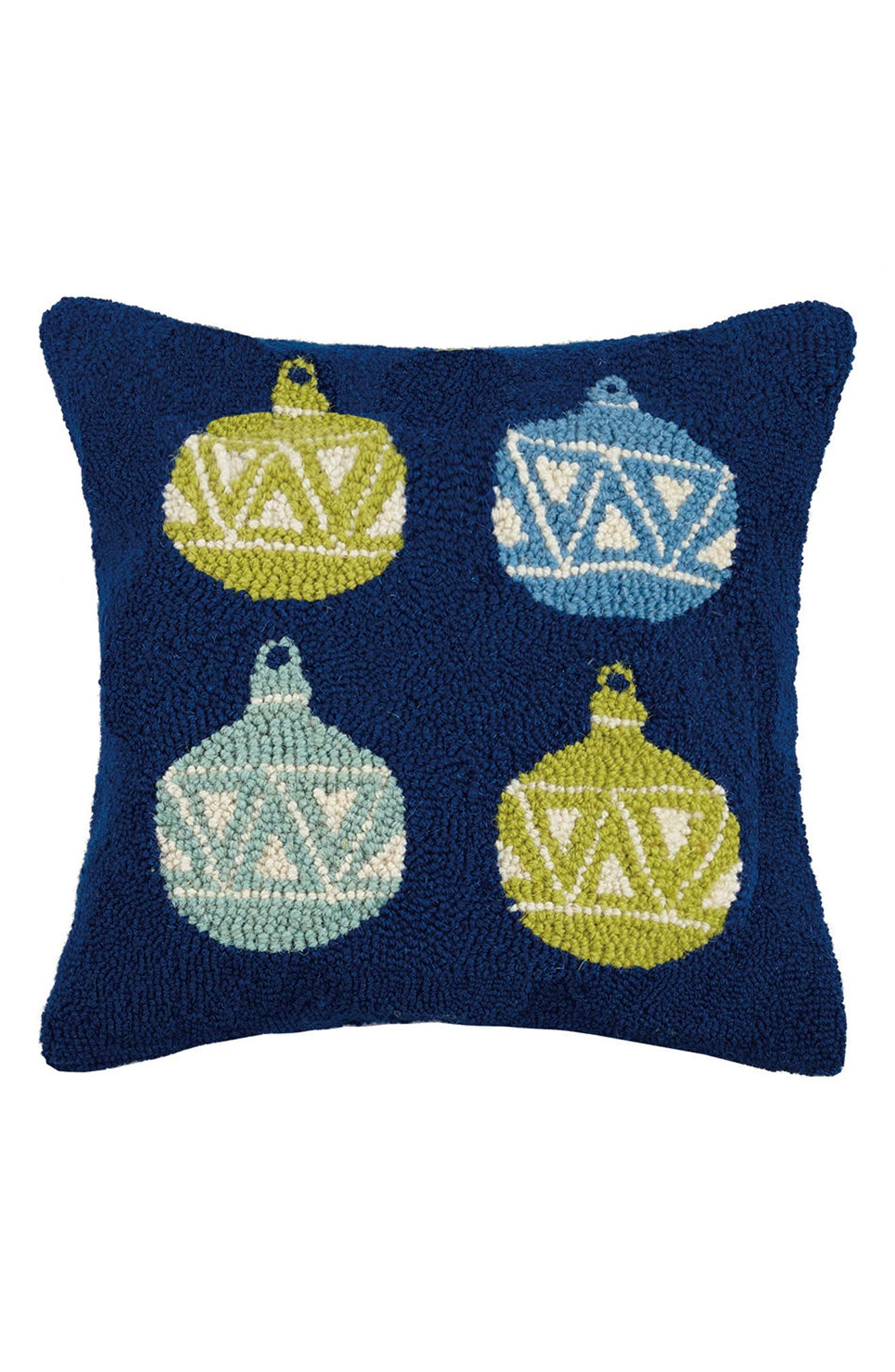Ornaments Hooked Accent Pillow,                         Main,                         color, Blue