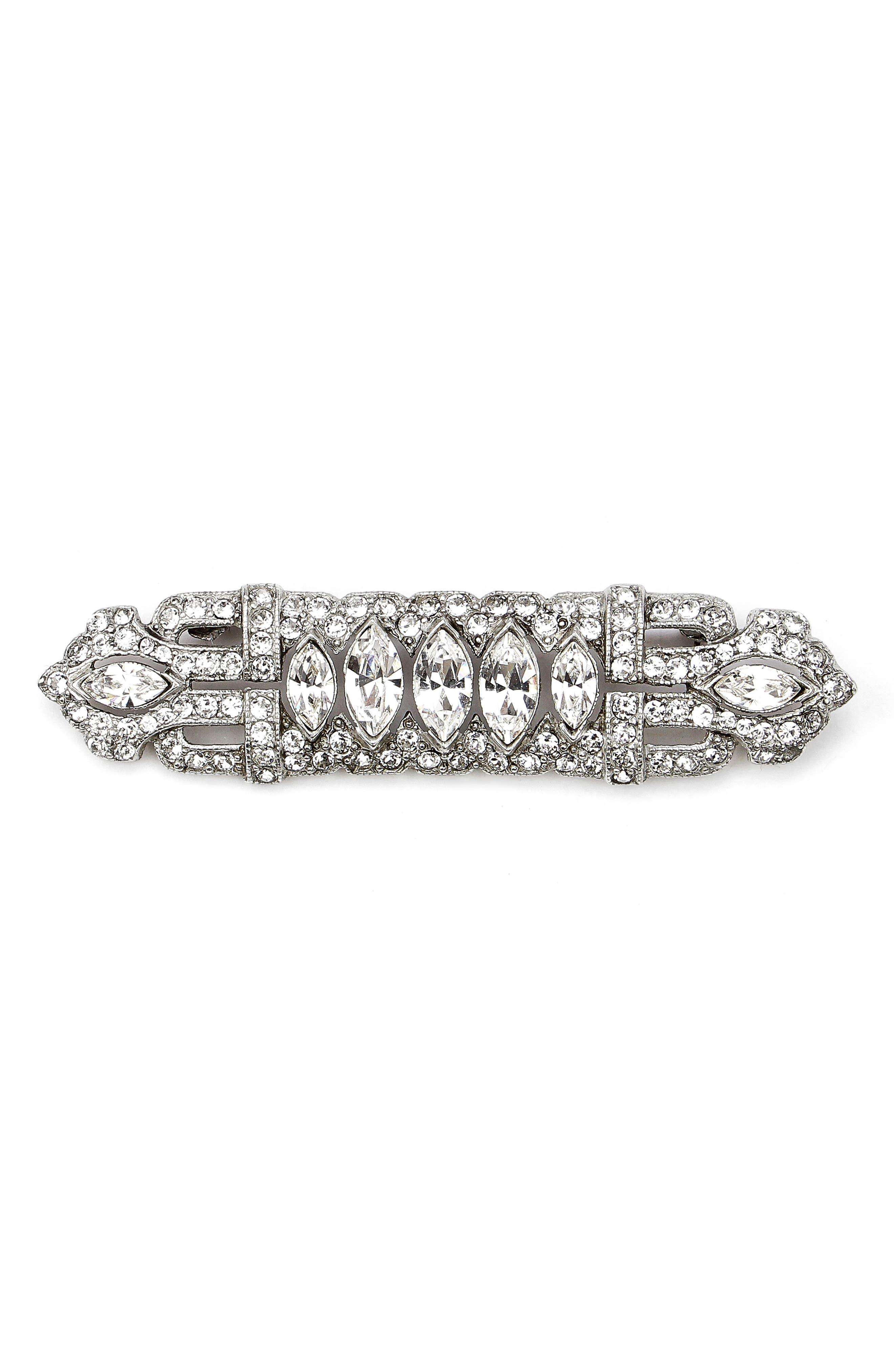 Art Deco Crystal Brooch,                         Main,                         color, Silver