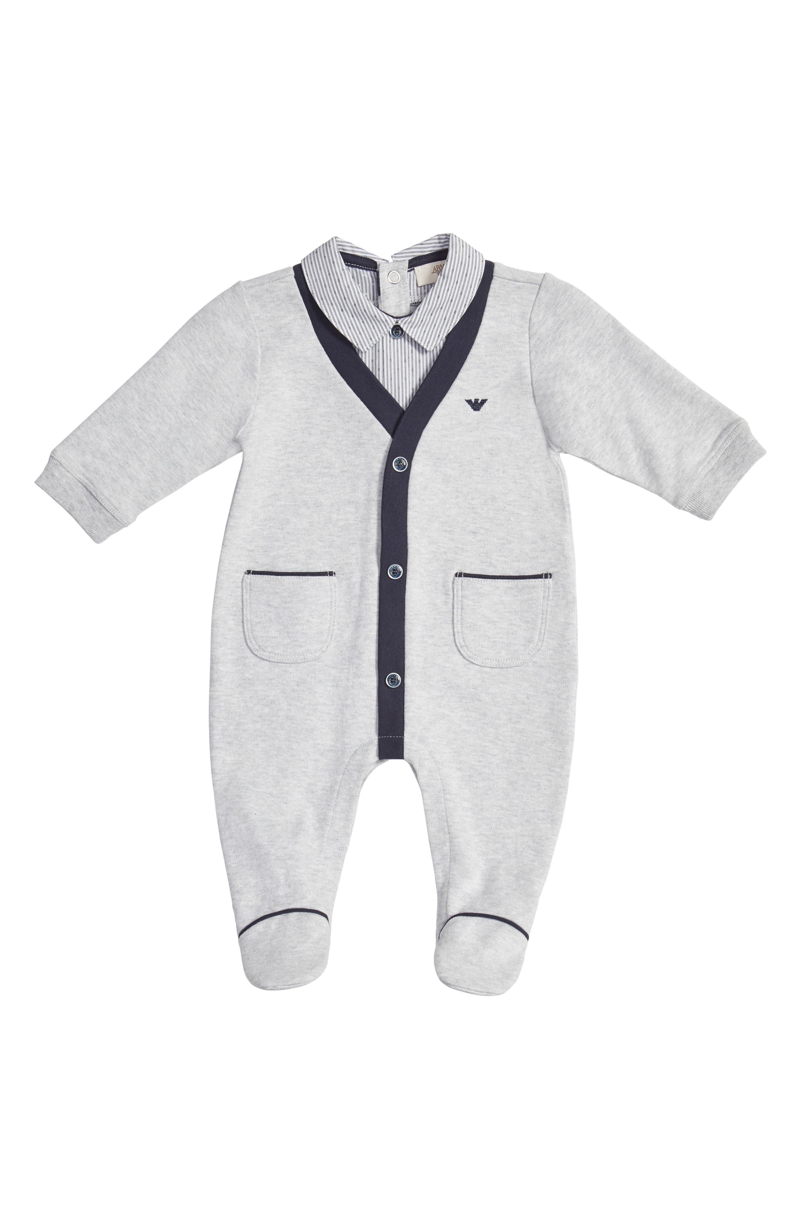 Shirt & Cardigan Footie,                             Main thumbnail 1, color,                             Grey