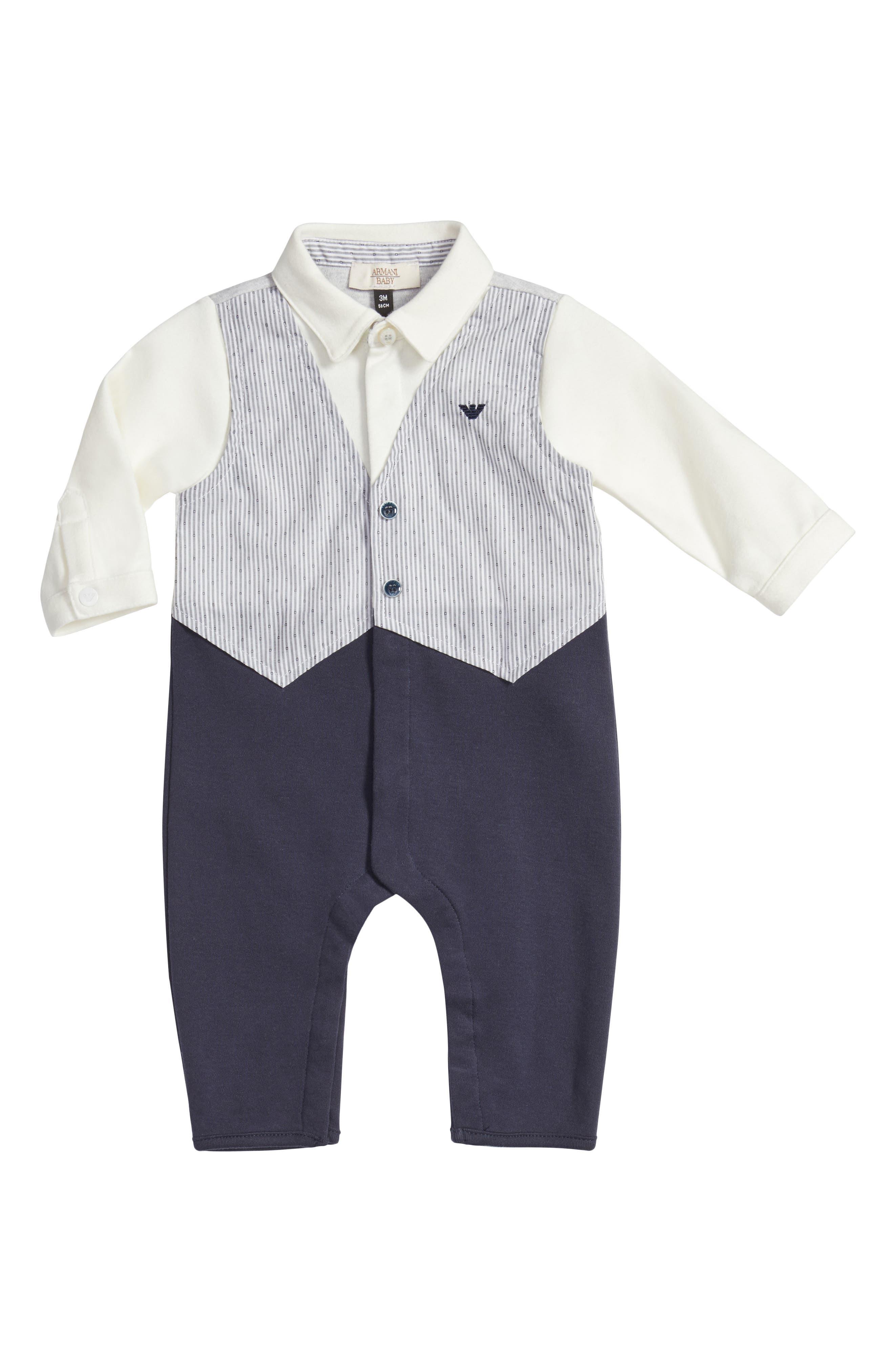 Alternate Image 1 Selected - Armani Junior Vest Romper (Baby Boys)