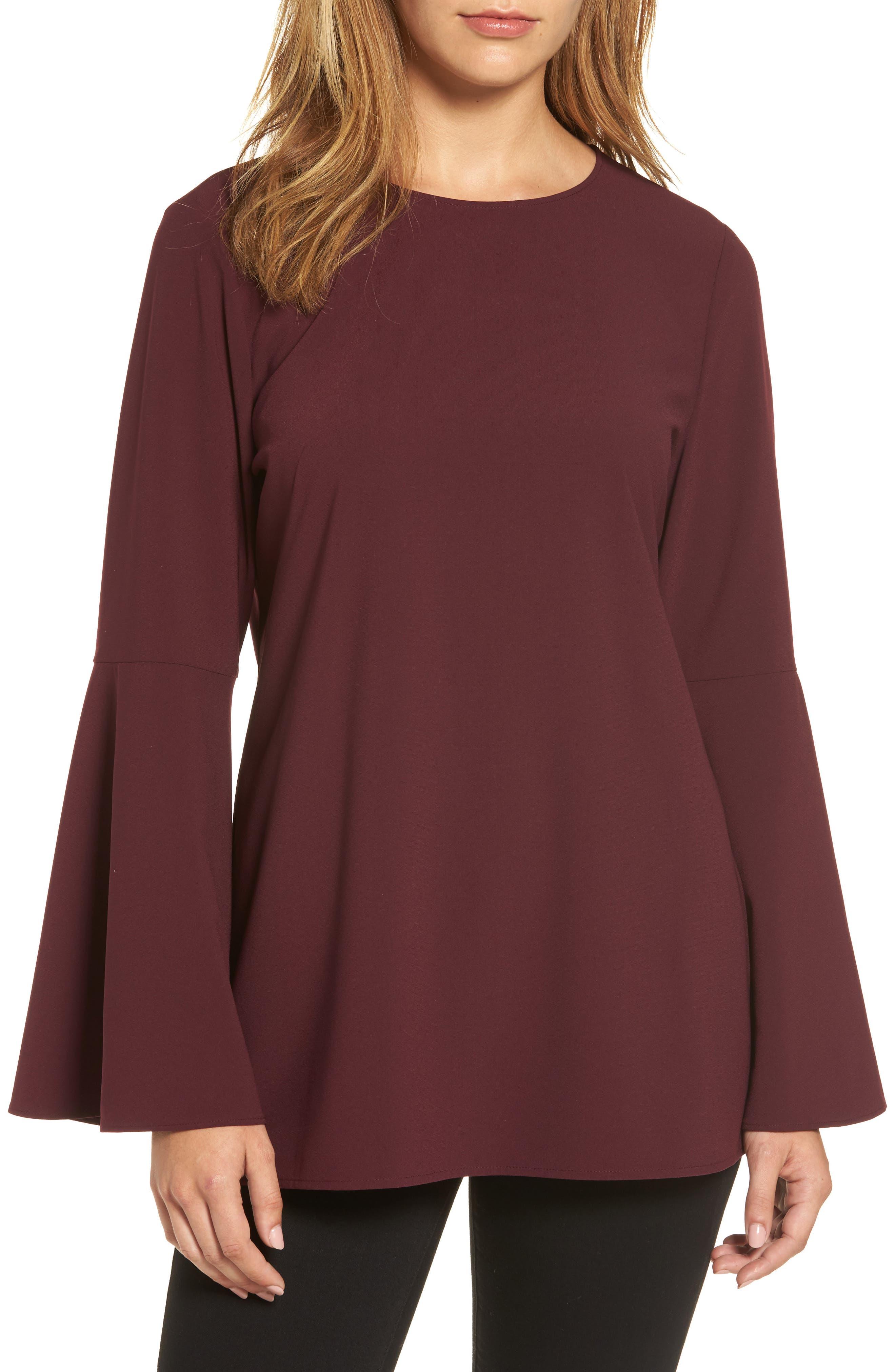Bow Back Flare Sleeve Tunic,                             Main thumbnail 1, color,                             Burgundy Stem