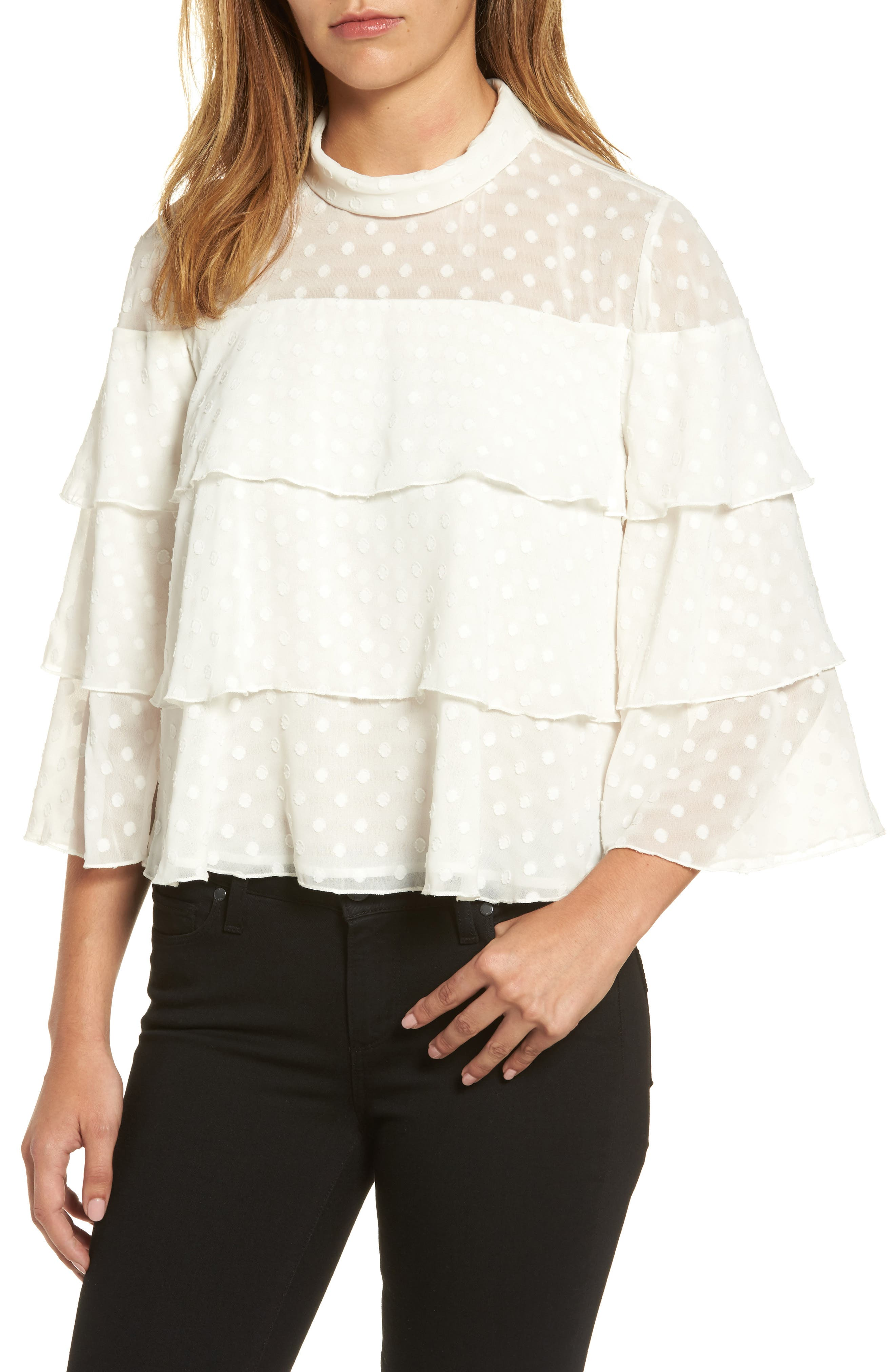 Halogen® Ruffle Tiered Blouse (Regular & Petite)