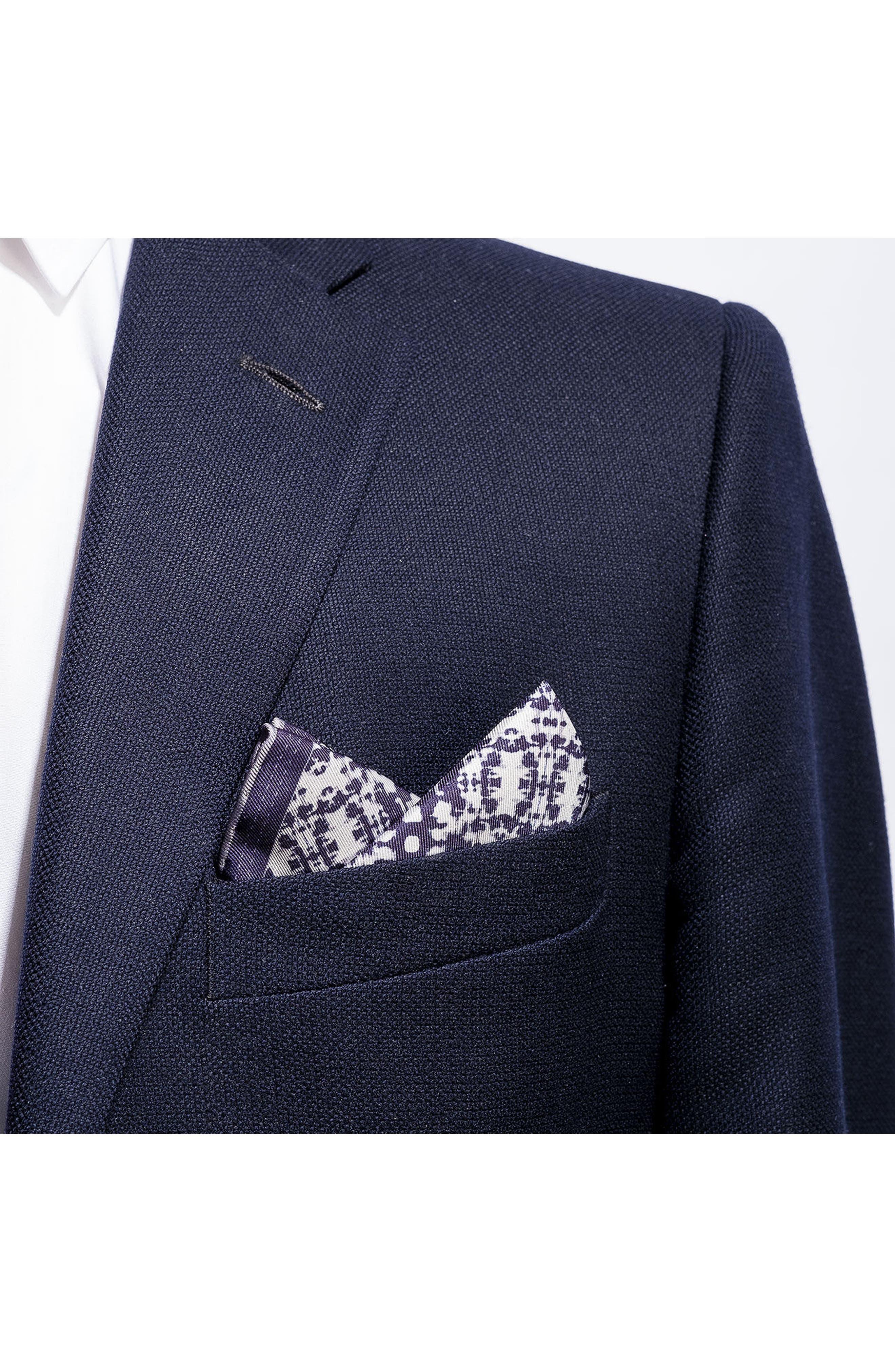 Batik Patterned Silk Pocket Square,                             Alternate thumbnail 3, color,                             Navy