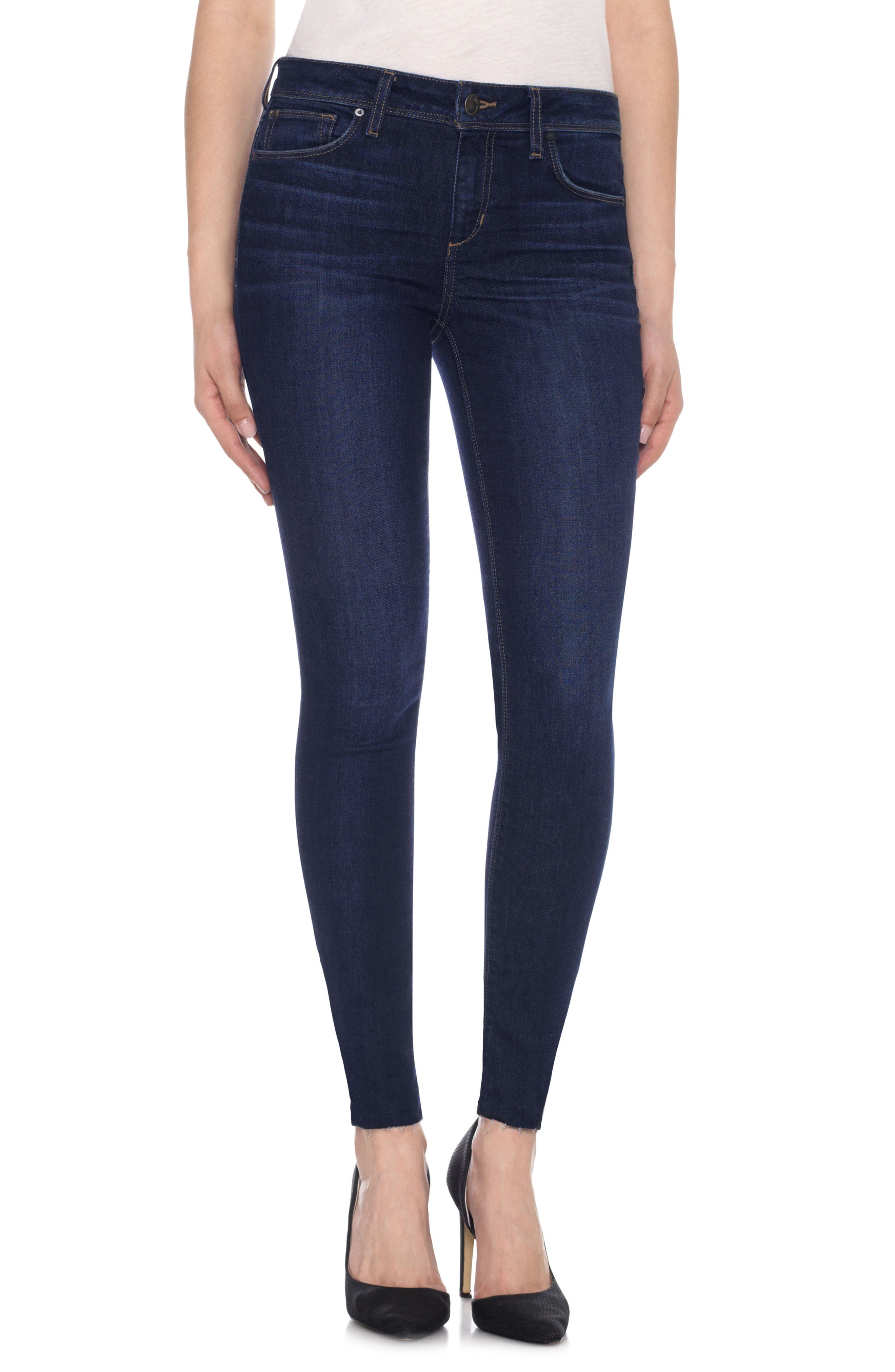 Icon Ankle Raw Hem Skinny Jeans,                             Main thumbnail 1, color,                             Betsie