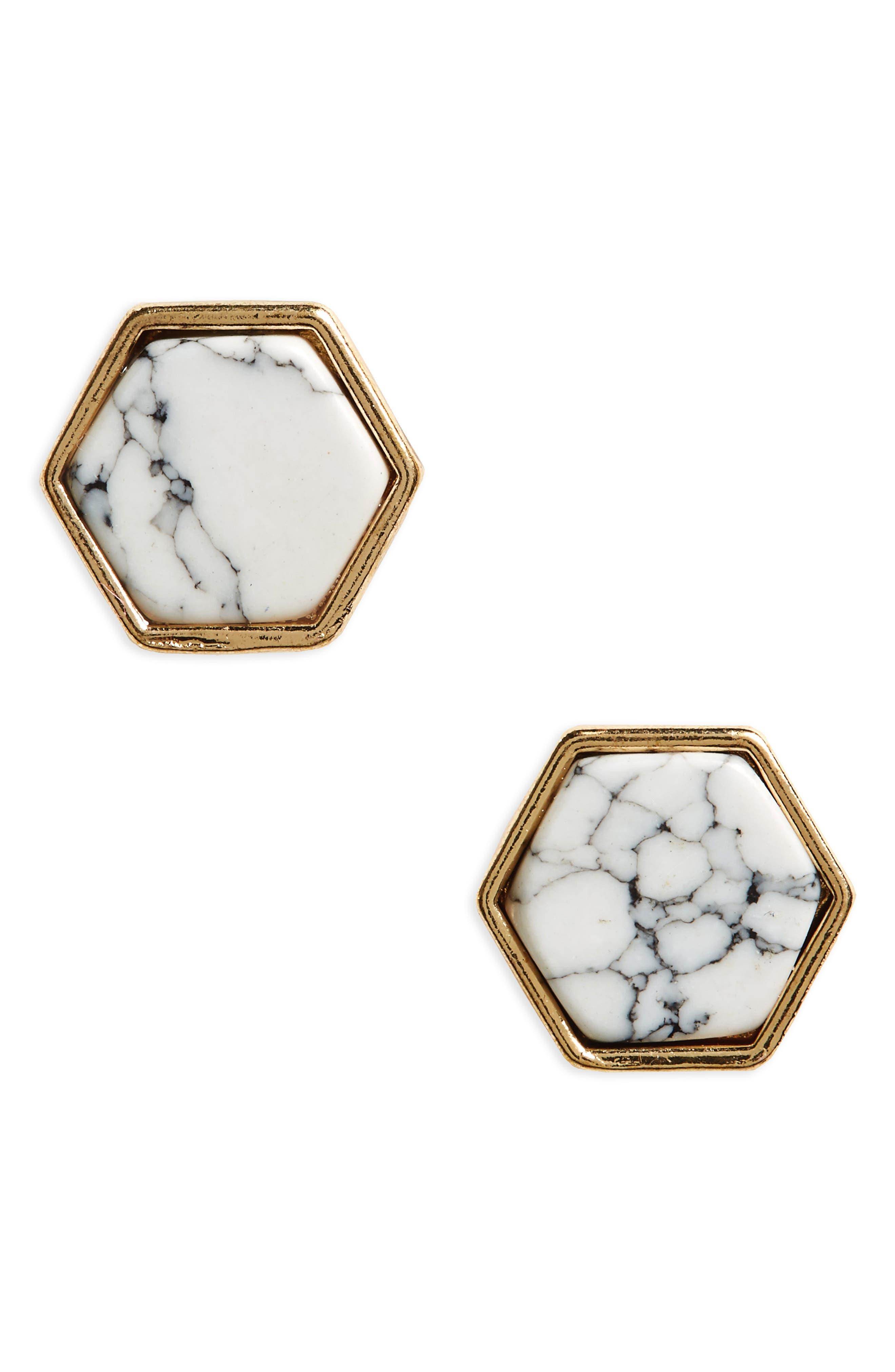BP. Marbled Hexagon Stud Earrings