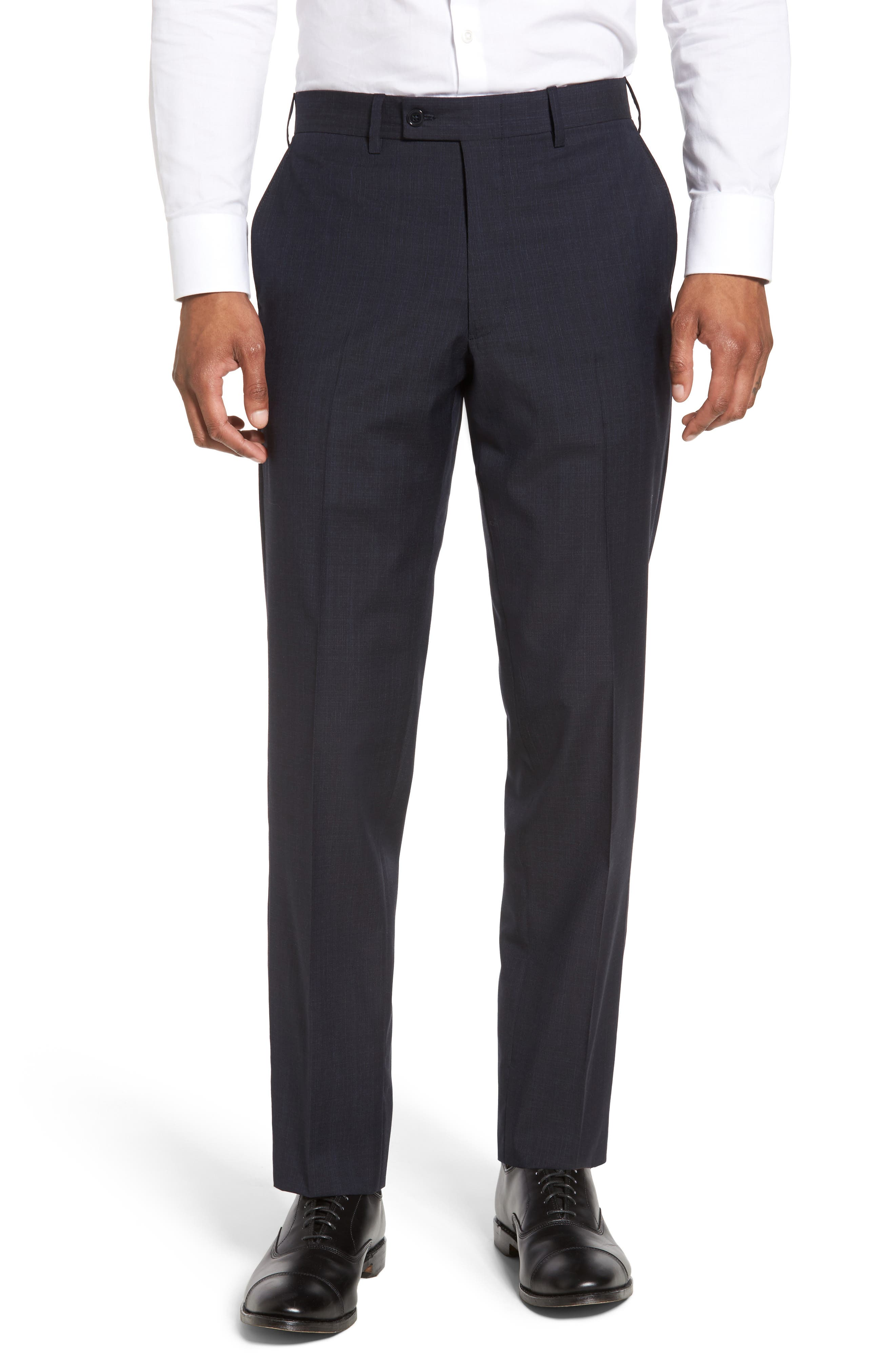 Main Image - JB Britches Flat Front Solid Wool Trousers