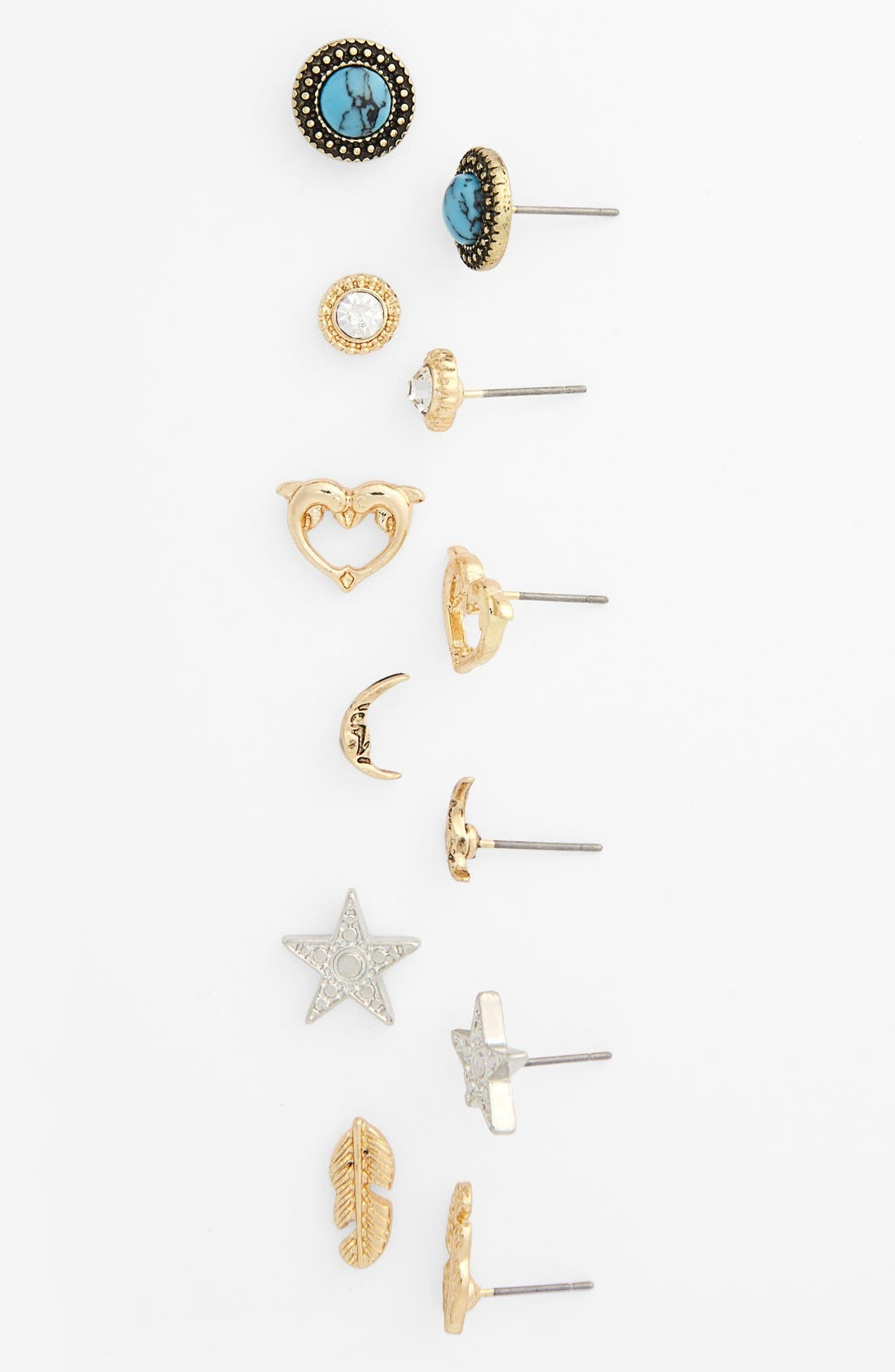 Alternate Image 1 Selected - Topshop Mixed Stud Earrings (Set of 6)