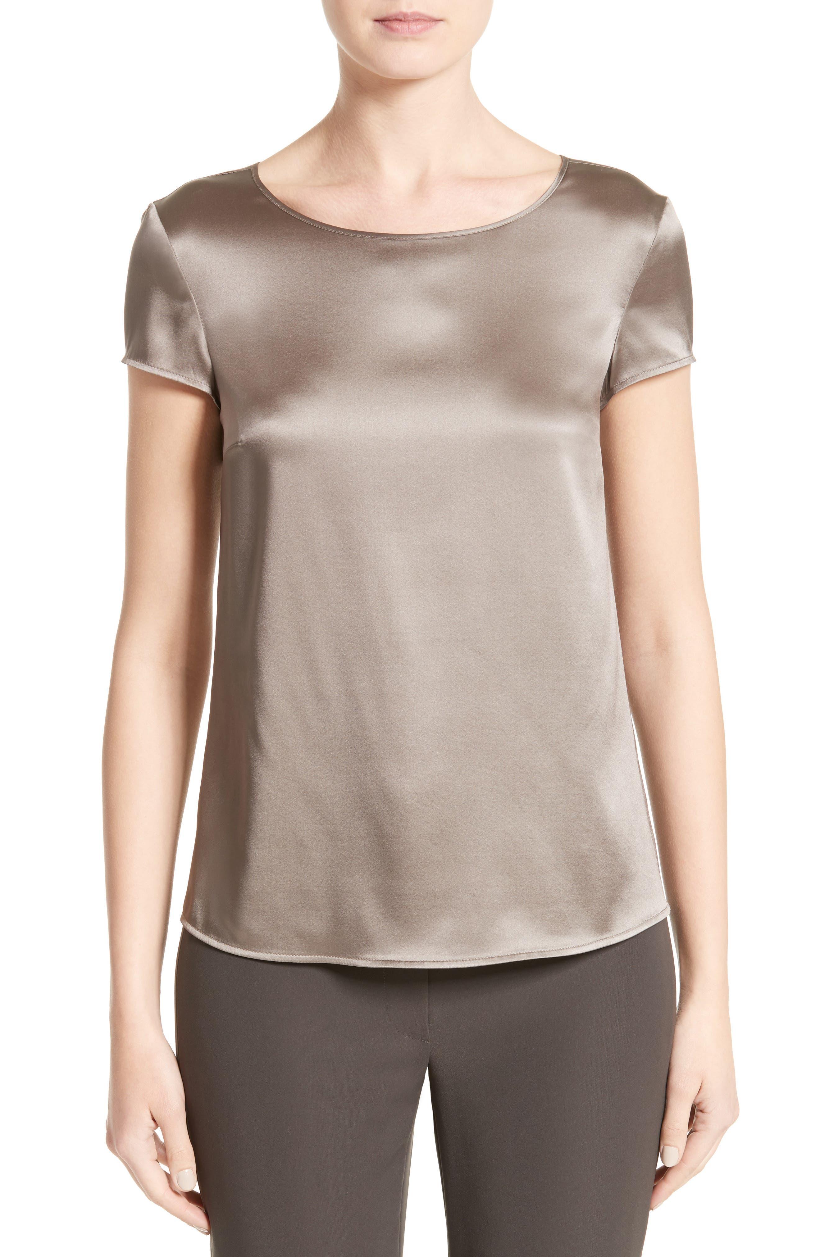 Stretch Silk Satin Top,                         Main,                         color, Dark Beige