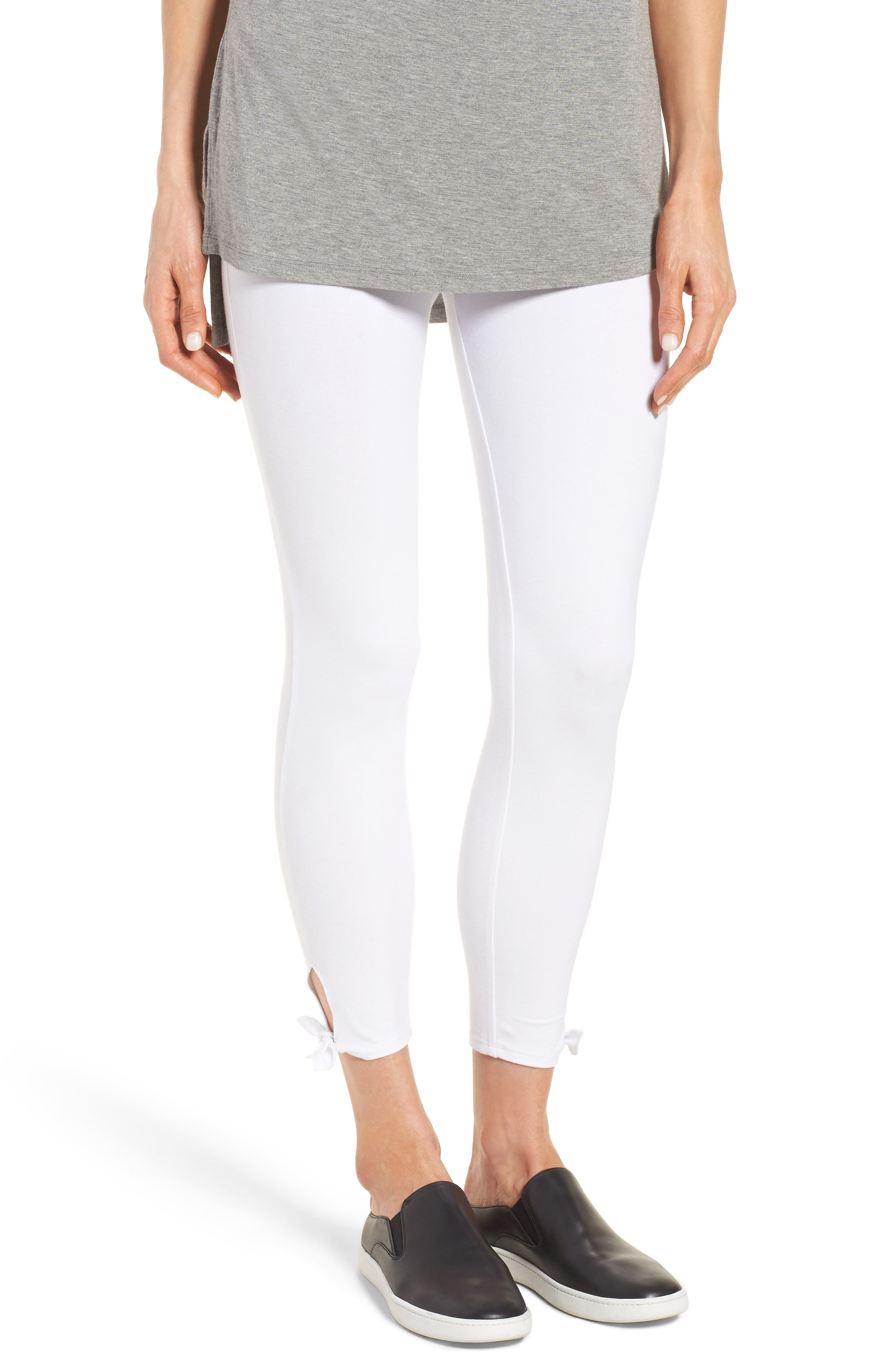 Tie Ankle Leggings,                         Main,                         color, White