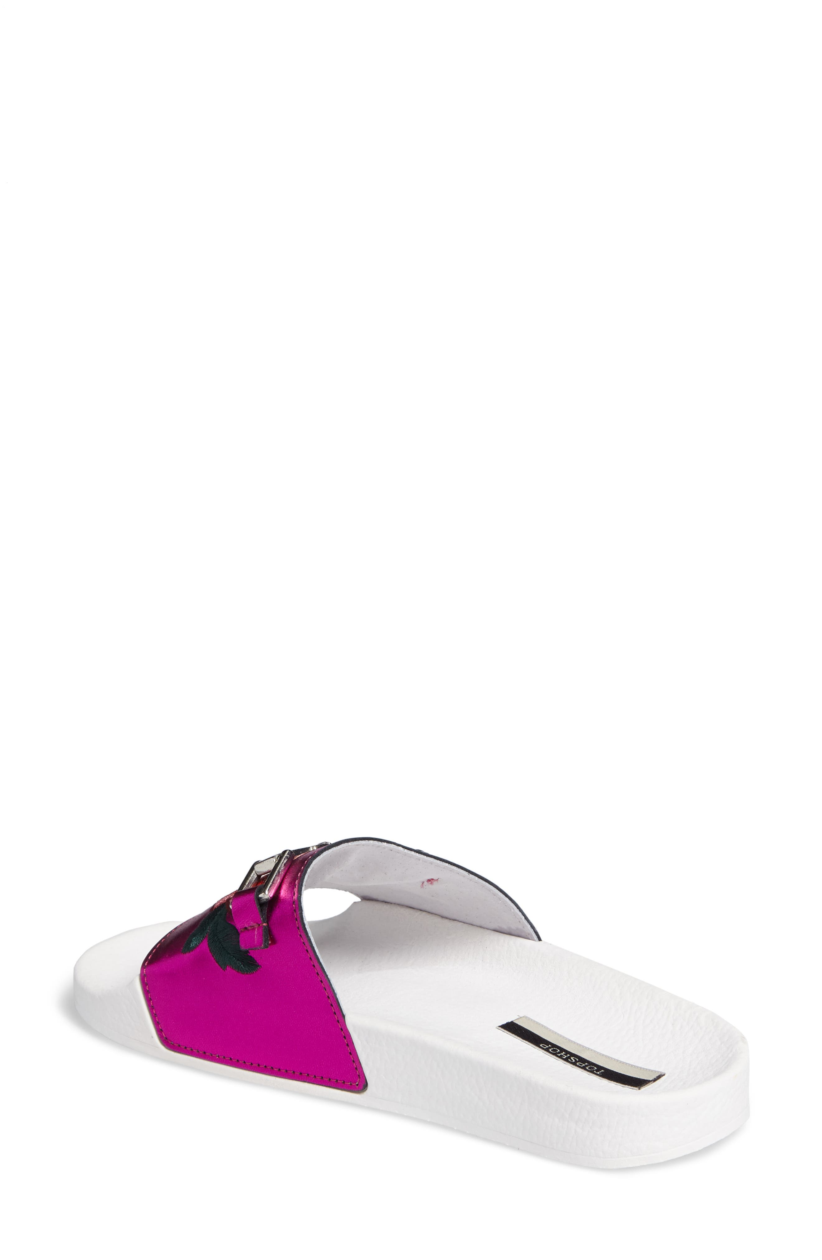 Alternate Image 2  - Topshop Fierce Embroidered Slide Sandal (Women)