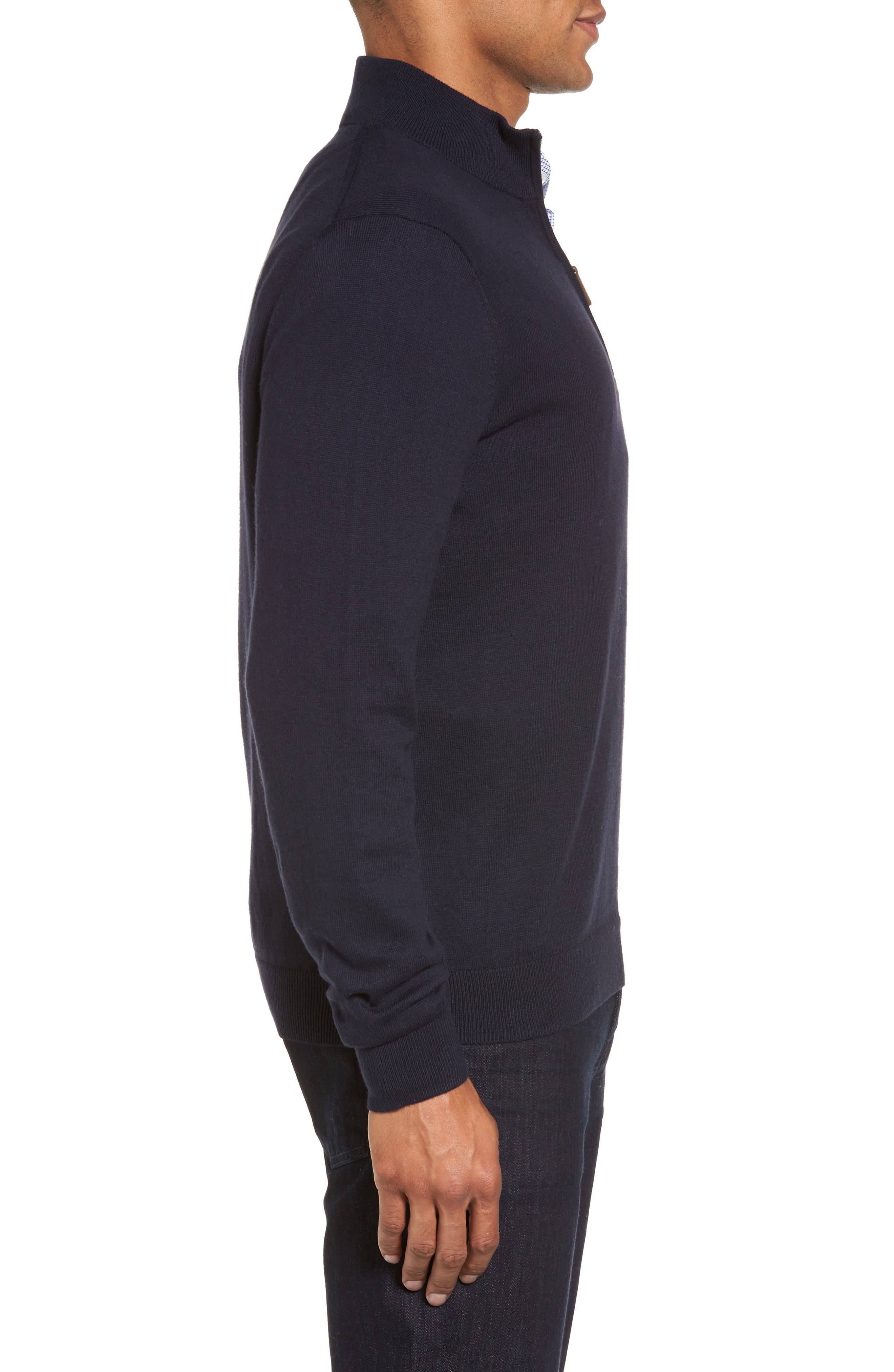 Half Zip Cotton & Cashmere Pullover,                             Alternate thumbnail 4, color,                             Navy Night