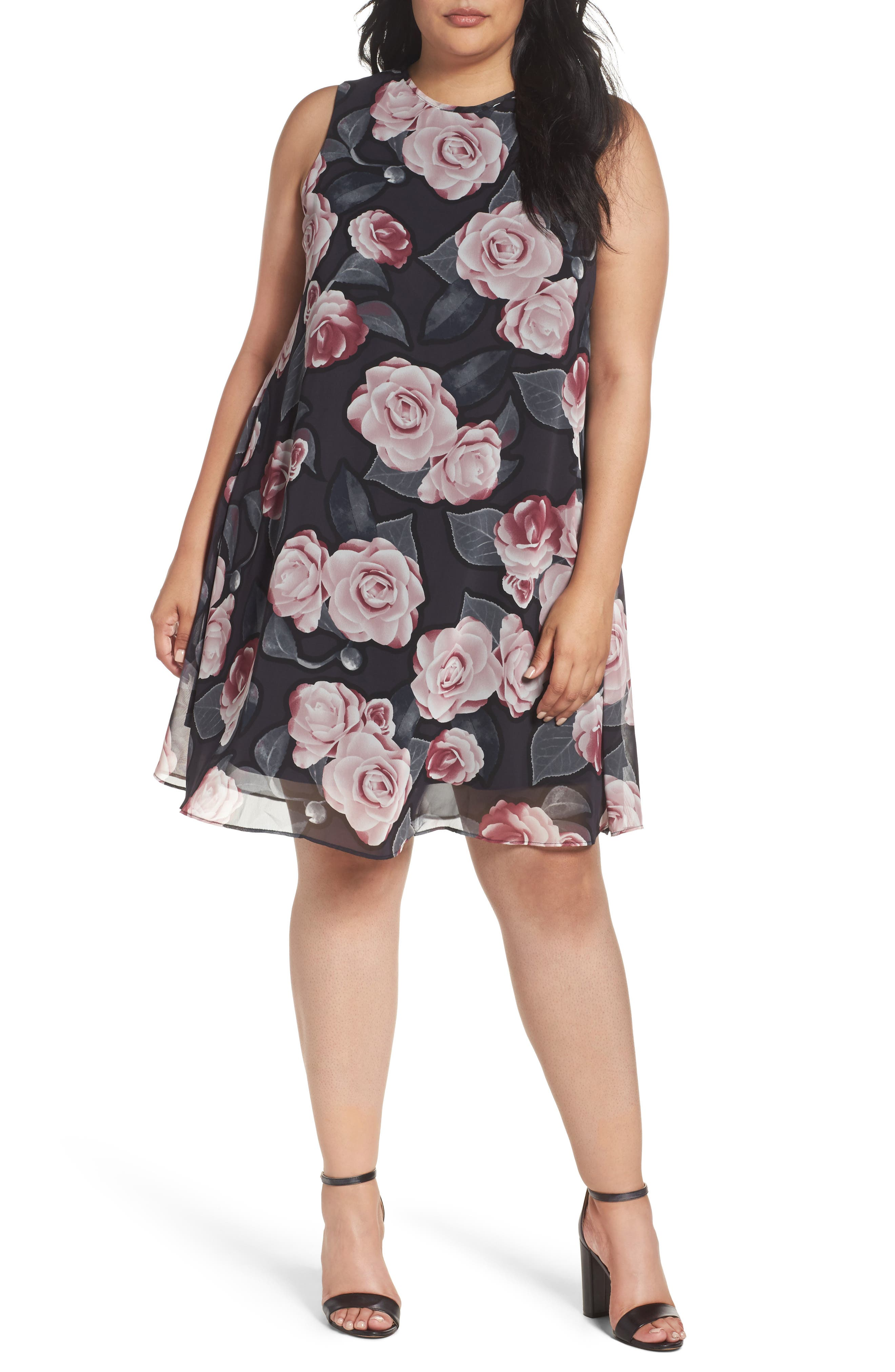 Taylor Dresses Moonlit Rose Chiffon Swing Dress (Plus Size)