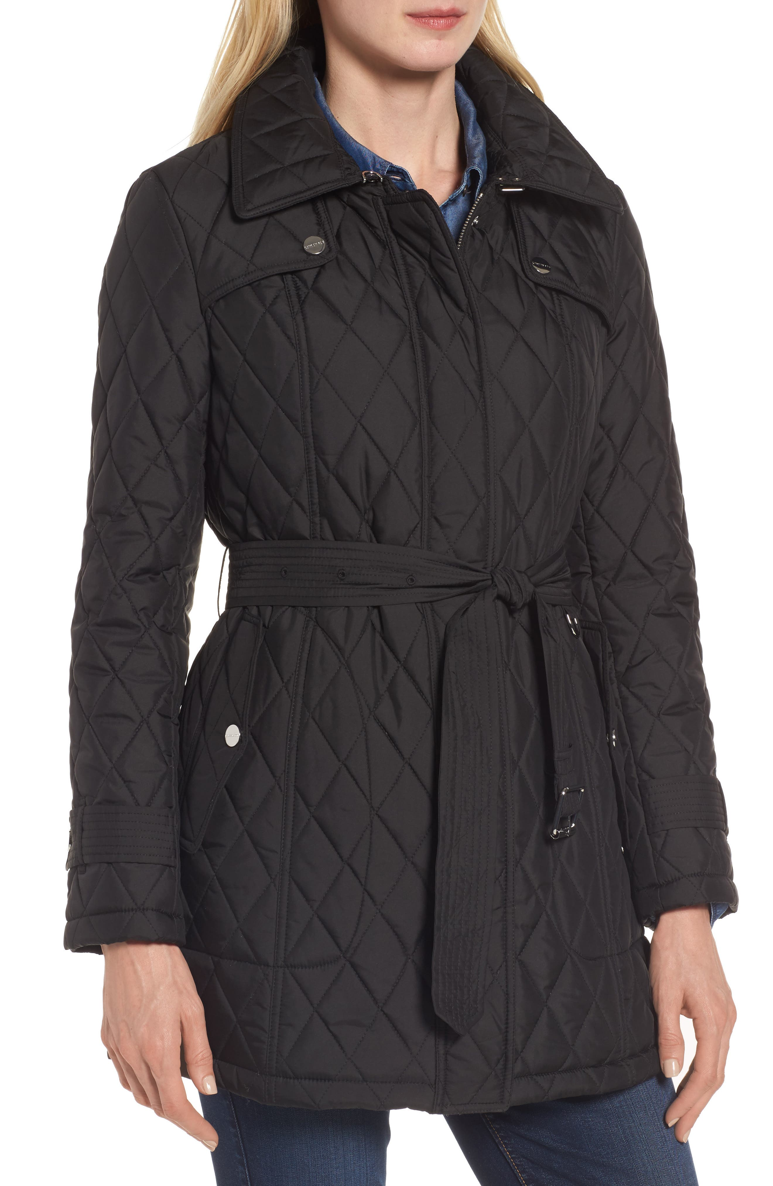 Quilted Coat with Faux Shearling Lining,                             Alternate thumbnail 4, color,                             Black