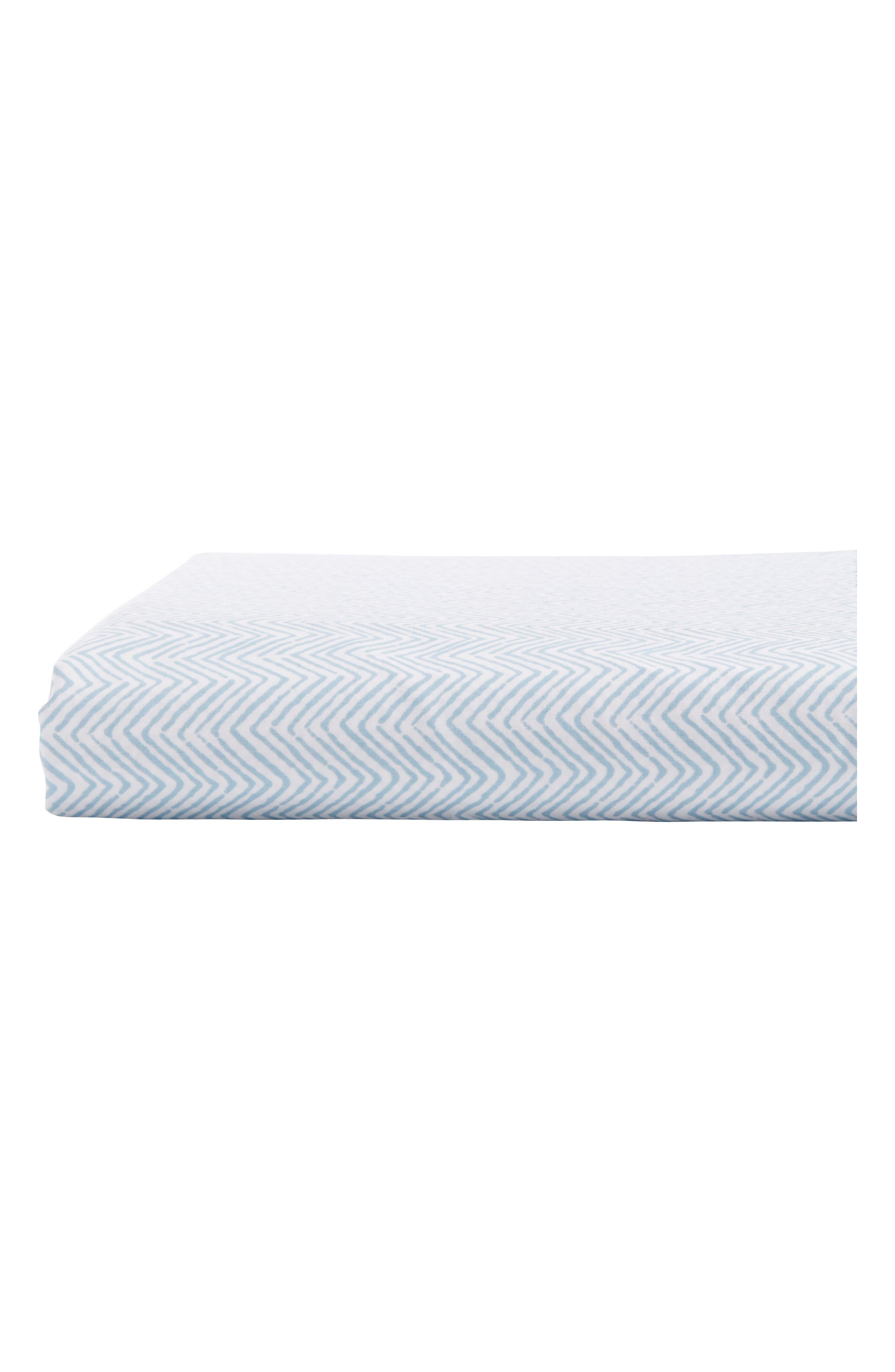 Chevron 400 Thread Count Fitted Sheet,                         Main,                         color, Light Indigo White