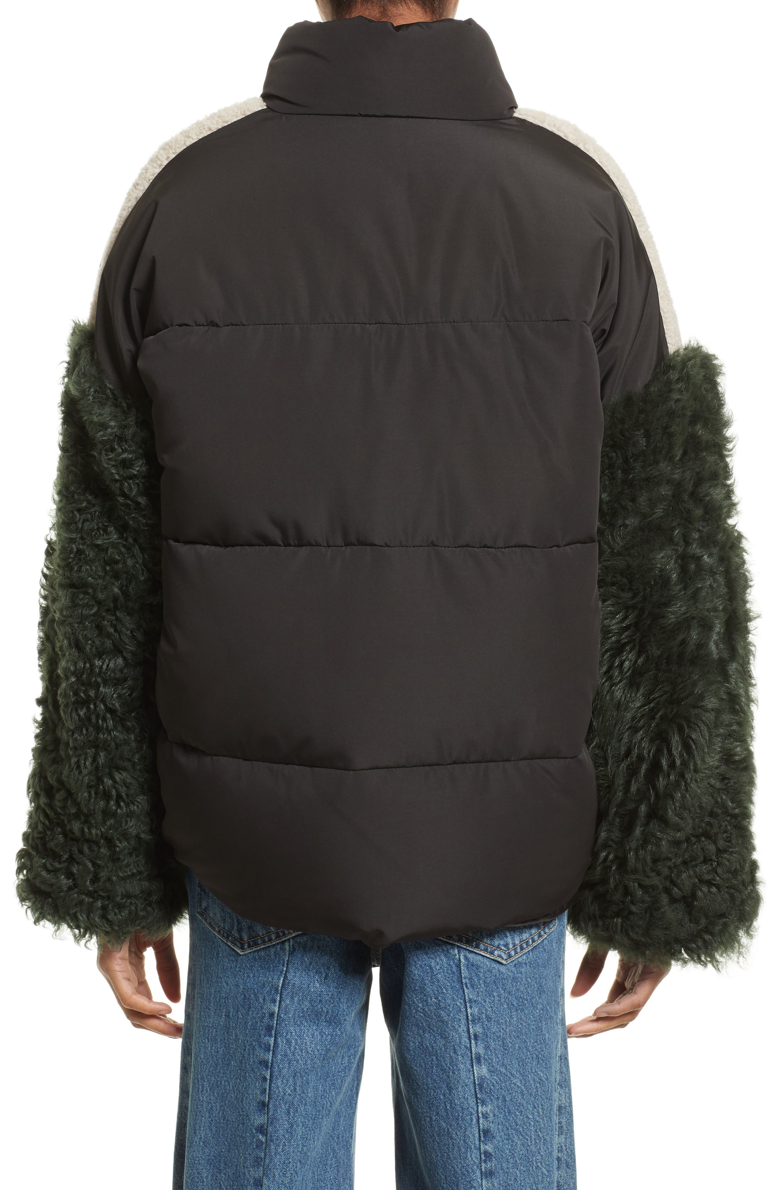 Alternate Image 2  - Sandy Liang Eldridge Puffer Coat with Genuine Shearling Sleeves