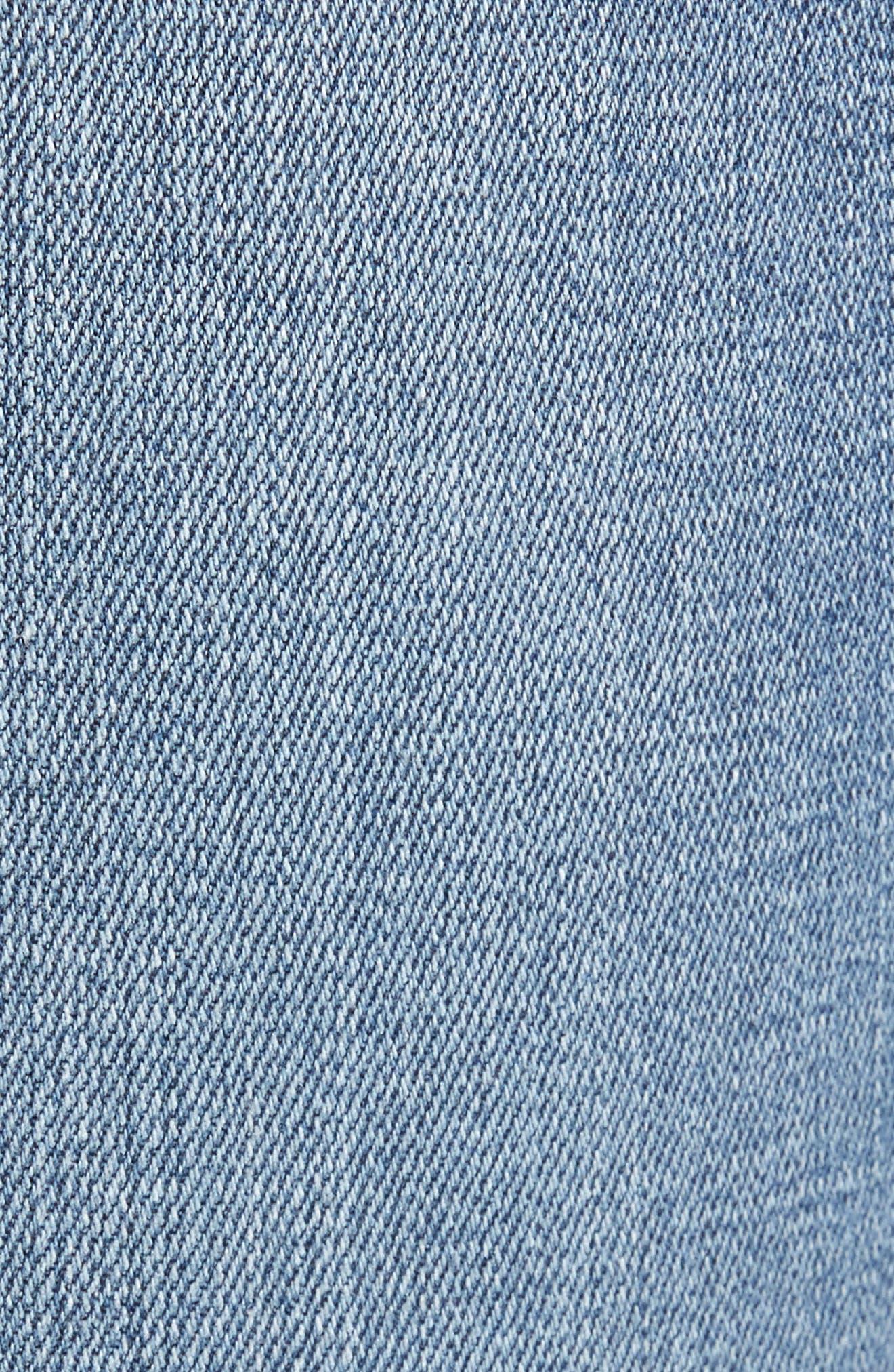 Alternate Image 5  - Good American Raw Hem High Waist Skinny Jeans (Blue 078) (Extended Sizes)