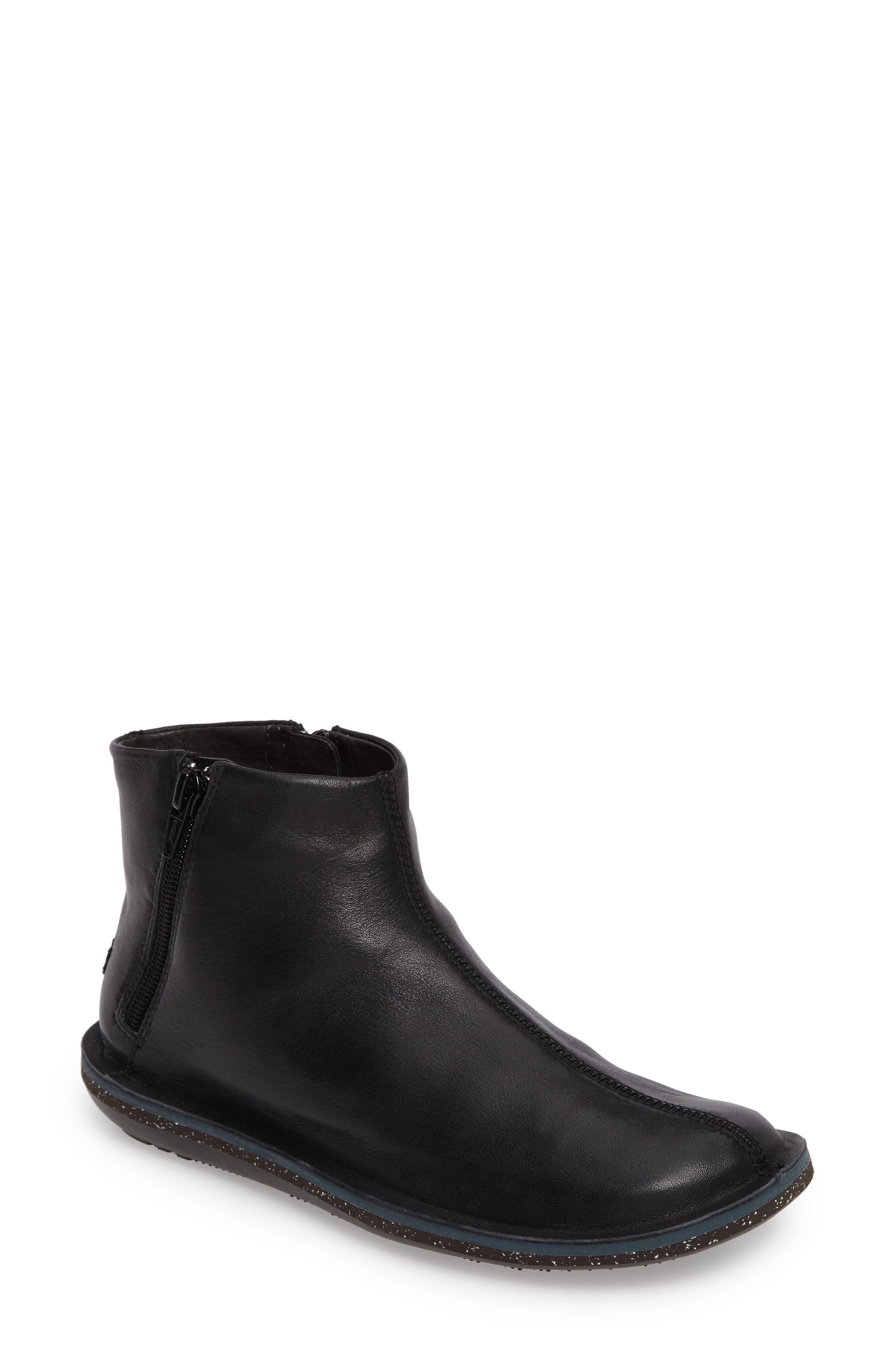 'Beetle' Ankle Bootie,                             Main thumbnail 1, color,                             Black Leather