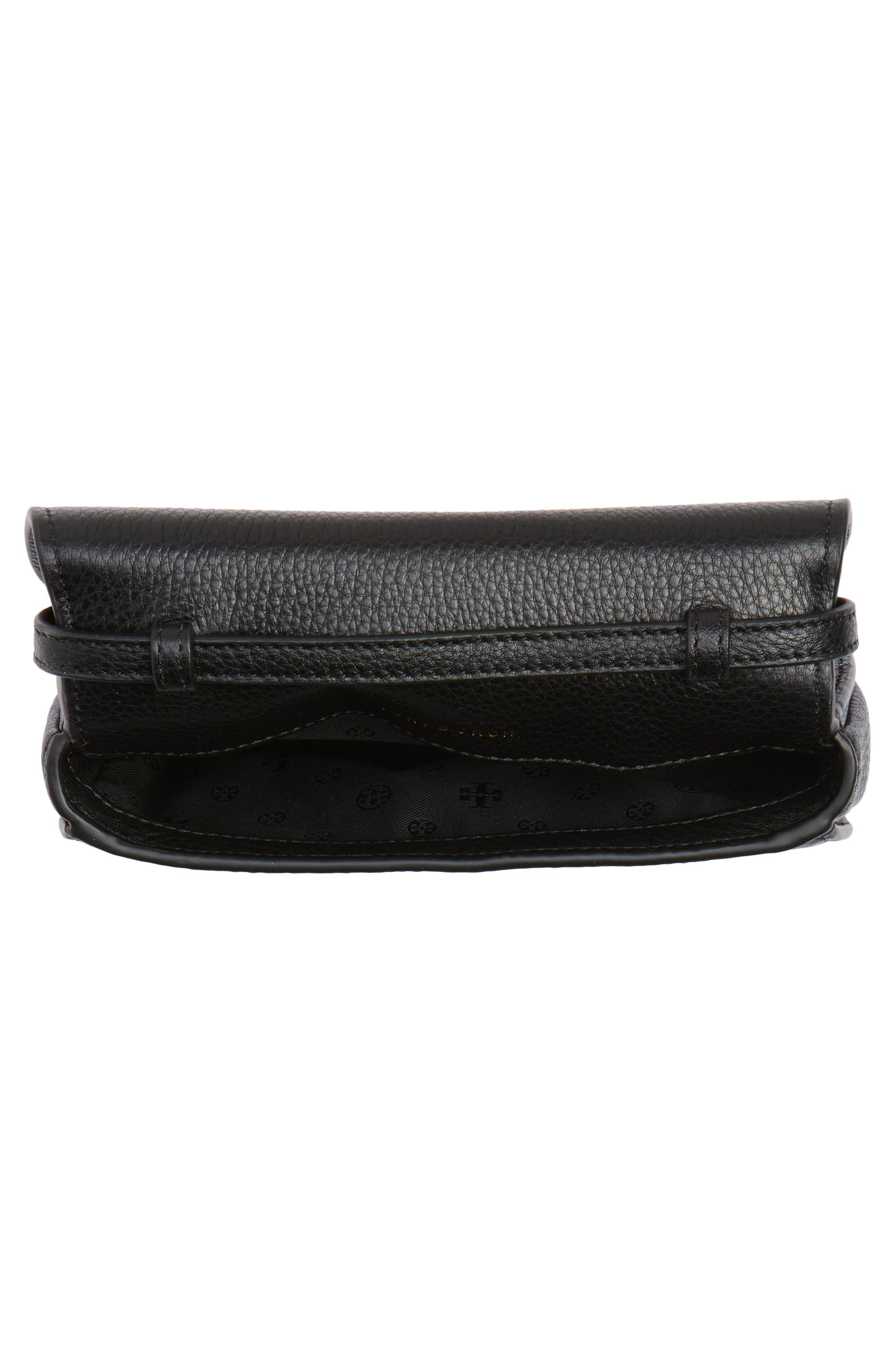 Mini Jamie Leather Crossbody Bag,                             Alternate thumbnail 4, color,                             Black