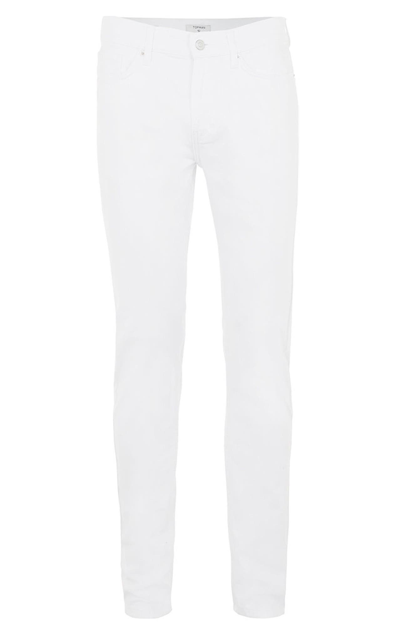 Stretch Skinny Fit Jeans,                             Alternate thumbnail 6, color,                             White