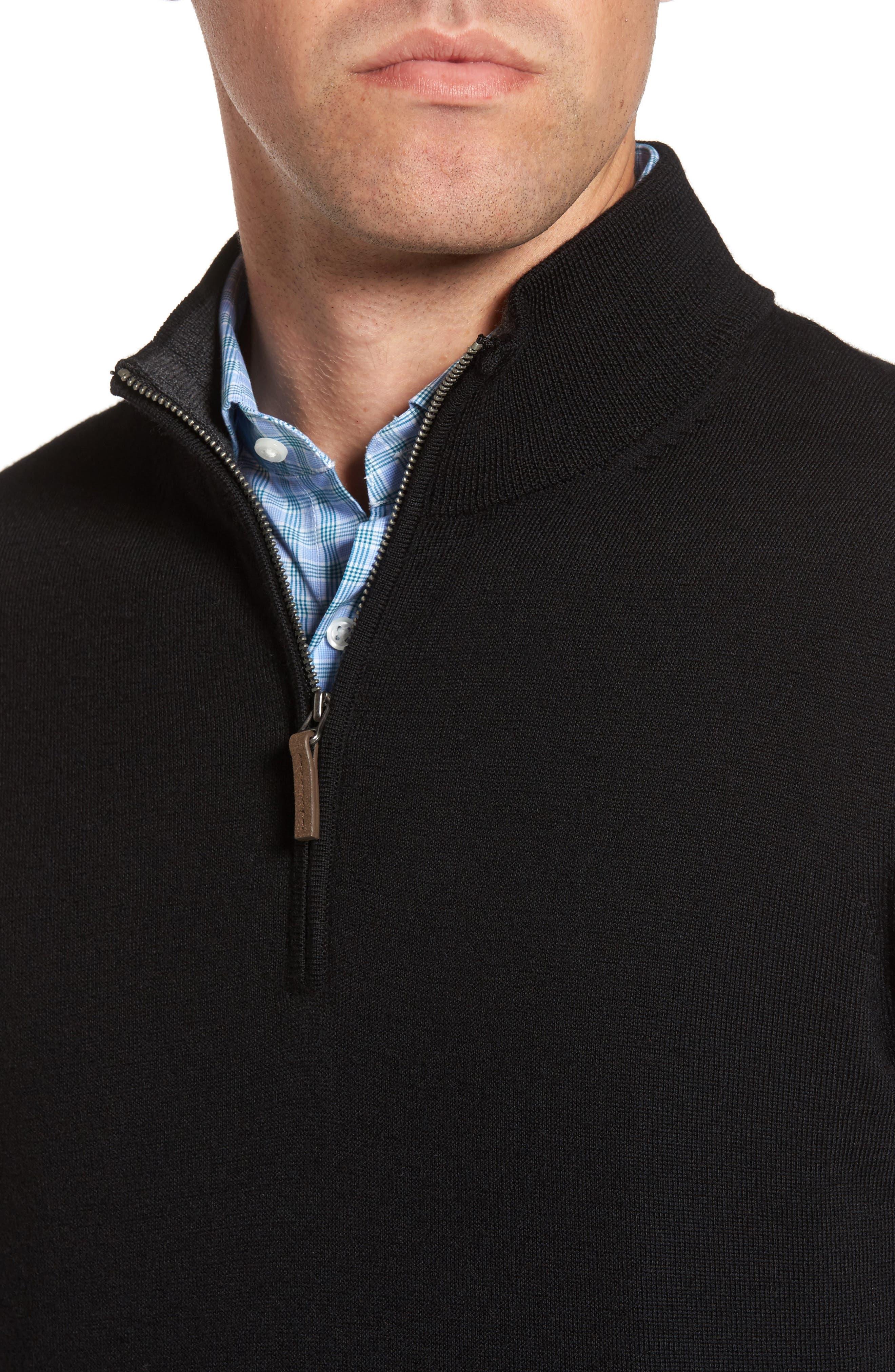 Quarter Zip Wool Pullover,                             Alternate thumbnail 4, color,                             Black Caviar