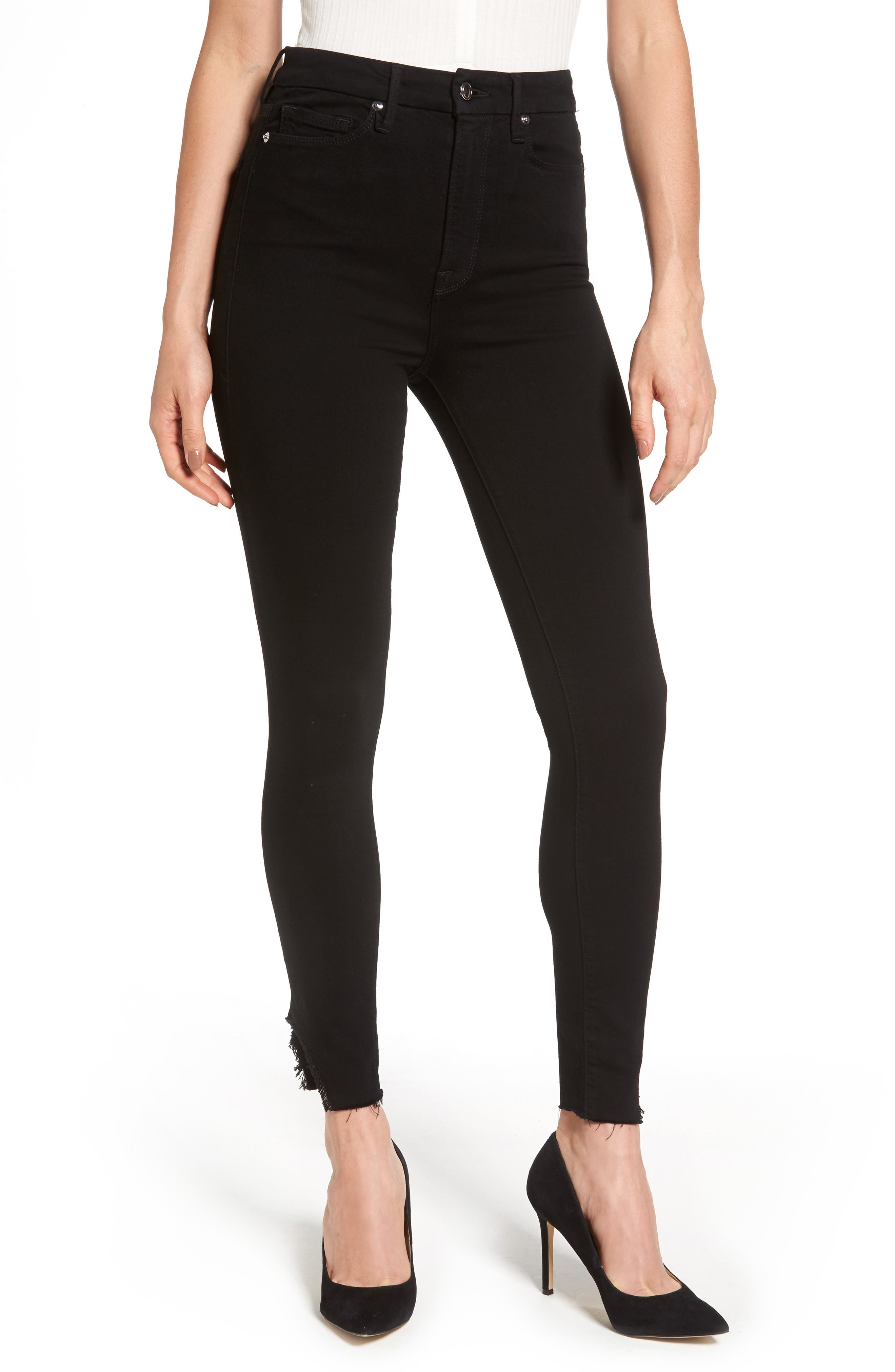 Main Image - Good American Good Waist Side Triangle Skinny Jeans (Black 001) (Extended Sizes)