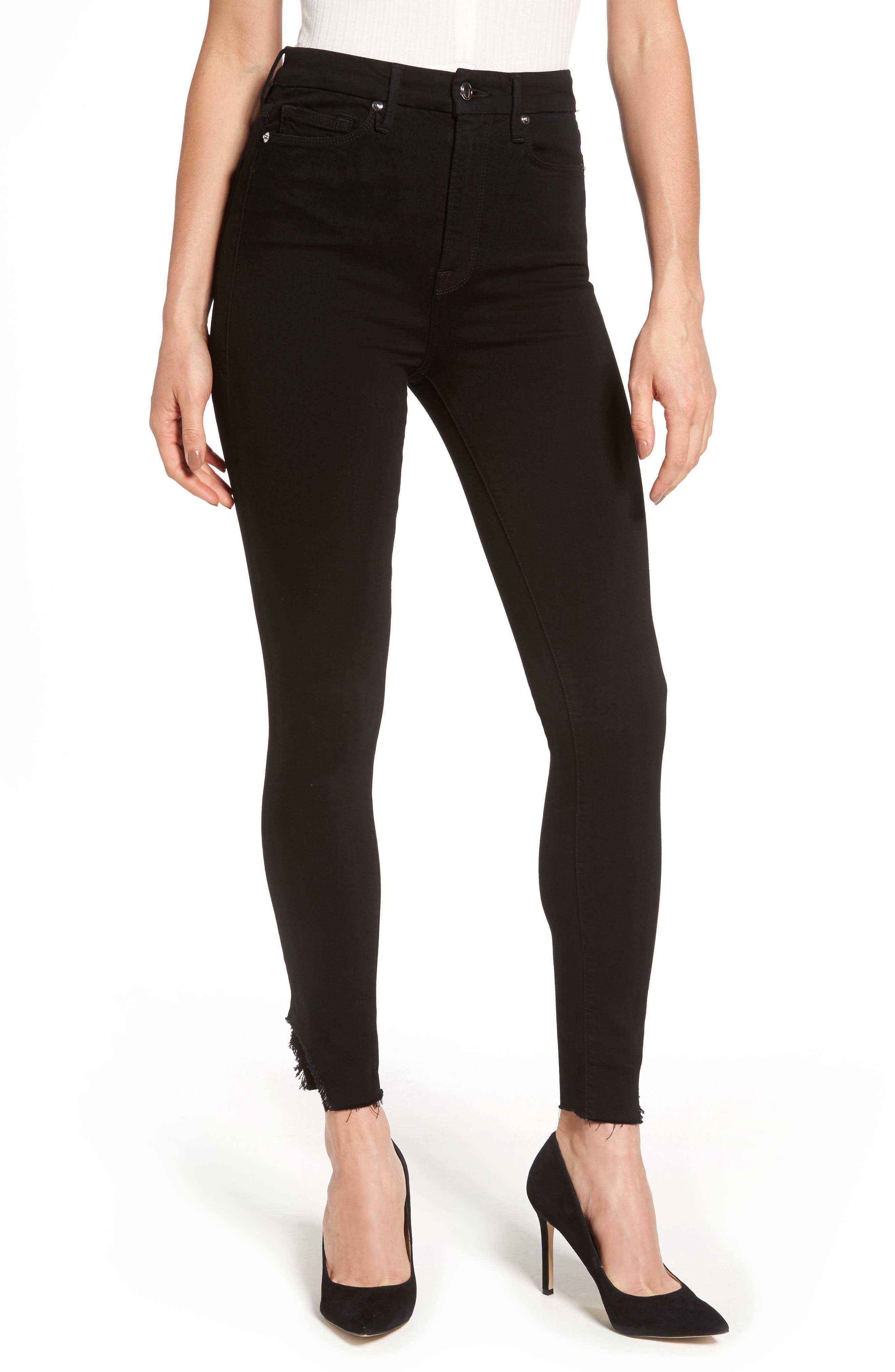 Good Waist Side Triangle Skinny Jeans,                         Main,                         color, Black108