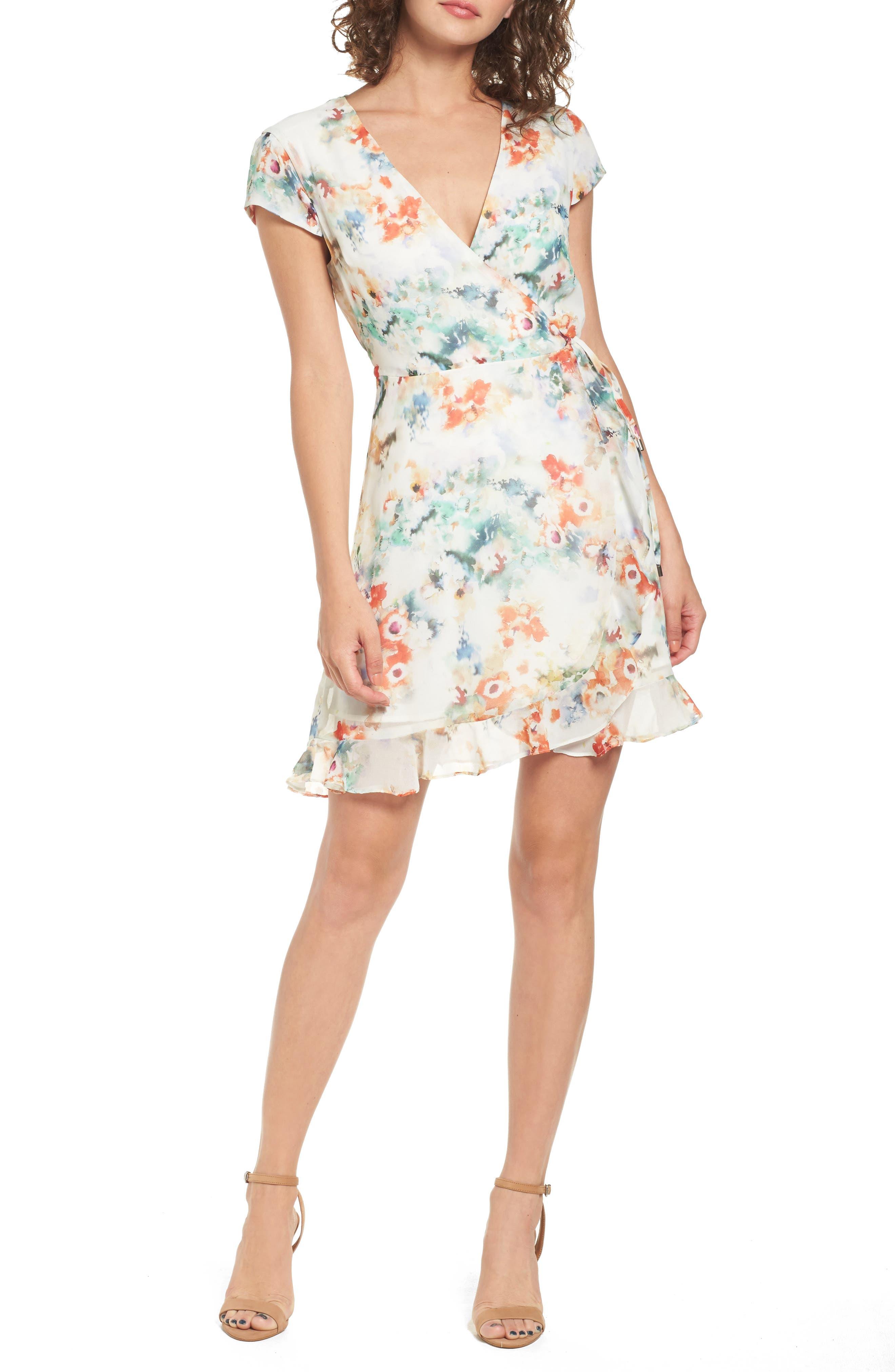 Floral Wrap Dress,                         Main,                         color, Tangerine